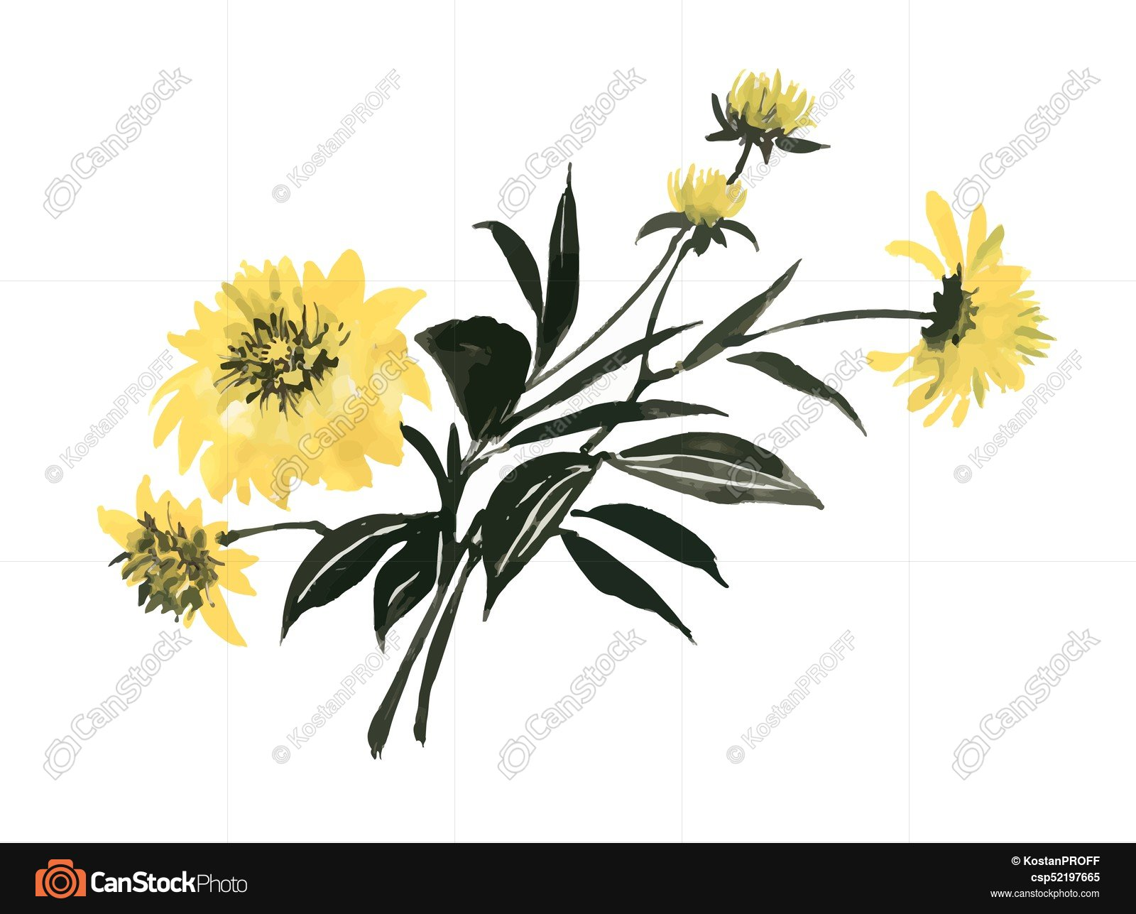 Hand drawn yellow flowers with green leaves isolated on... clip art ...