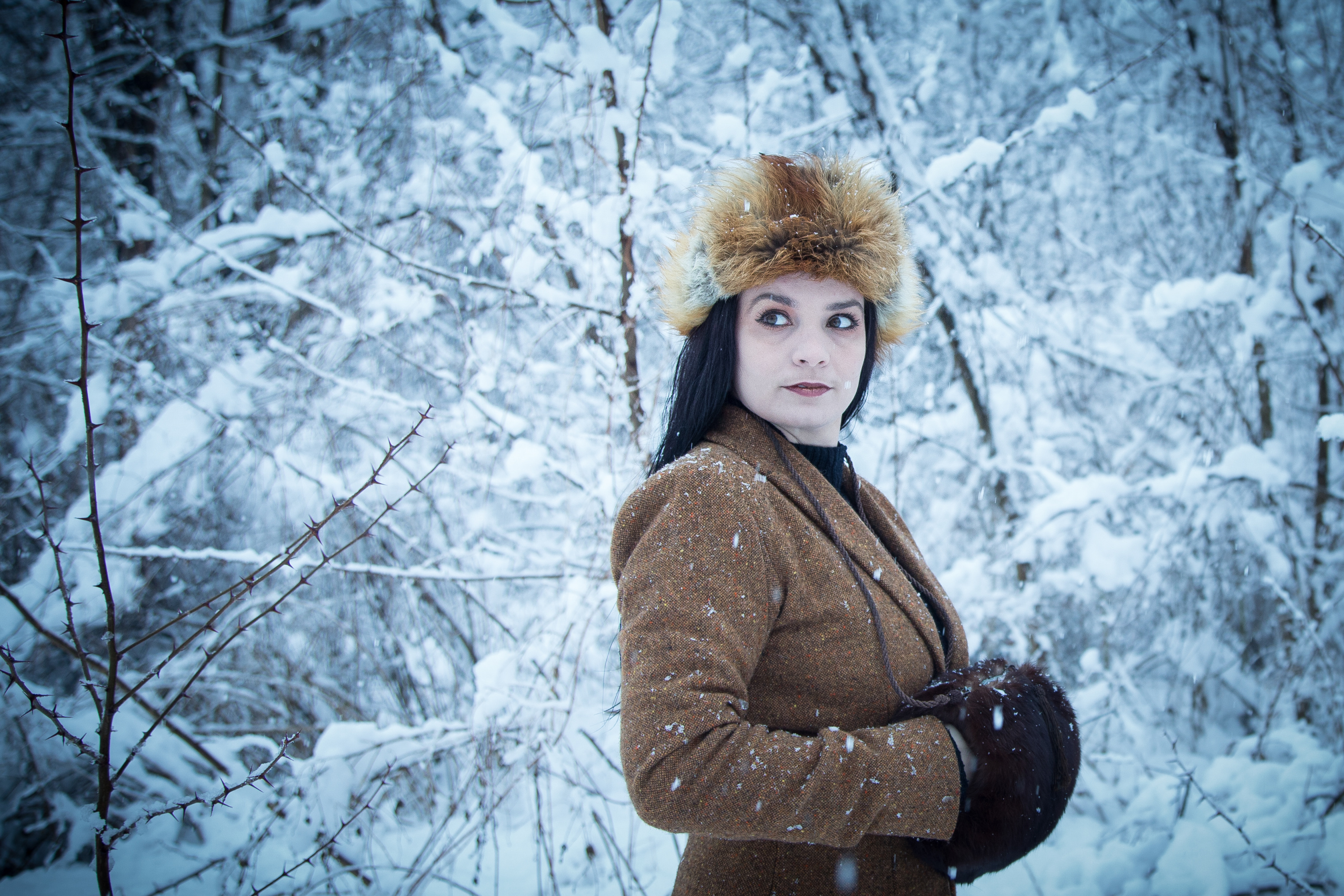 Lenka - Blue Winter, White, Winter, Woman, Woods, HQ Photo