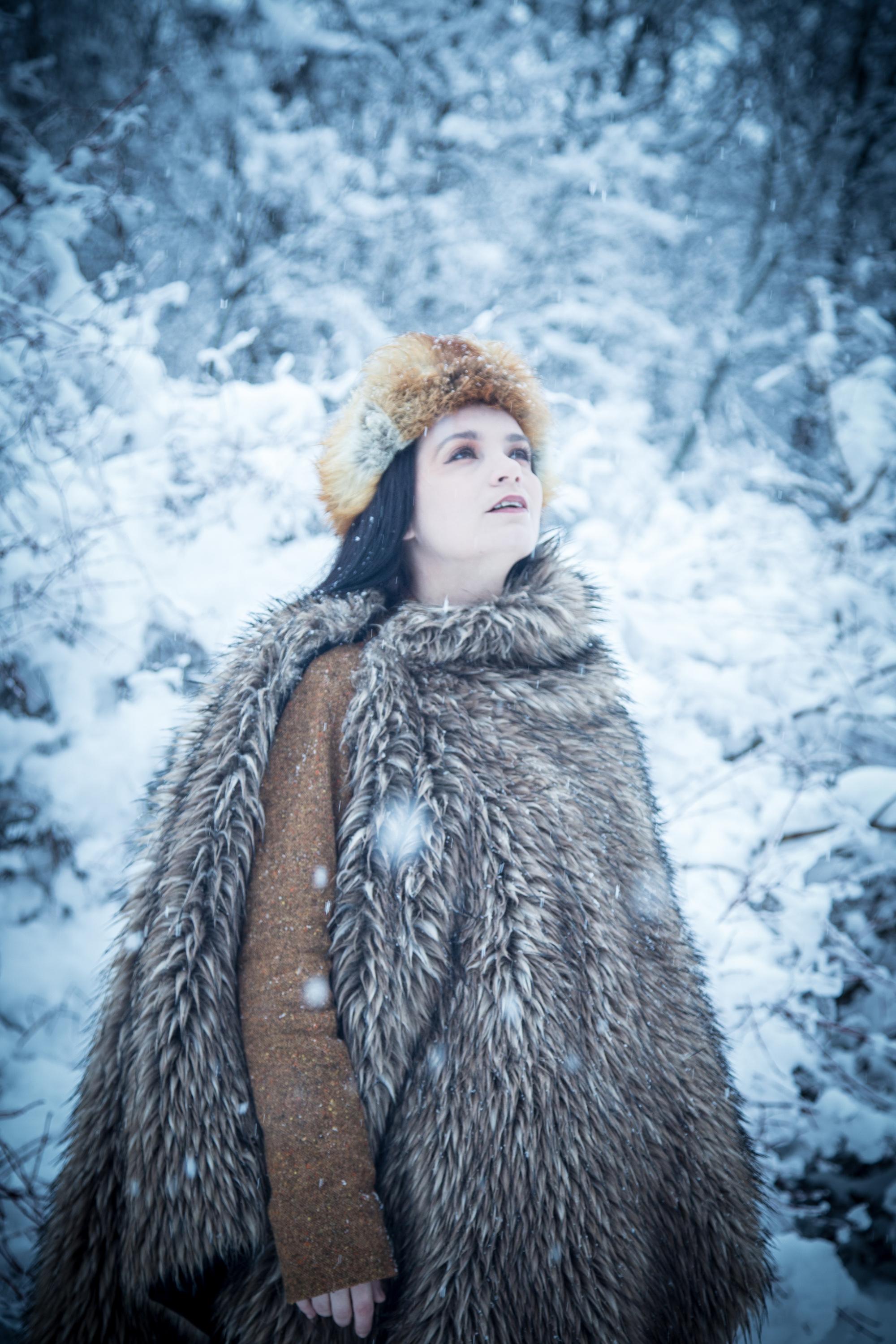 Lenka - Blue Winter, Coat, Cold, Fur, Girl, HQ Photo