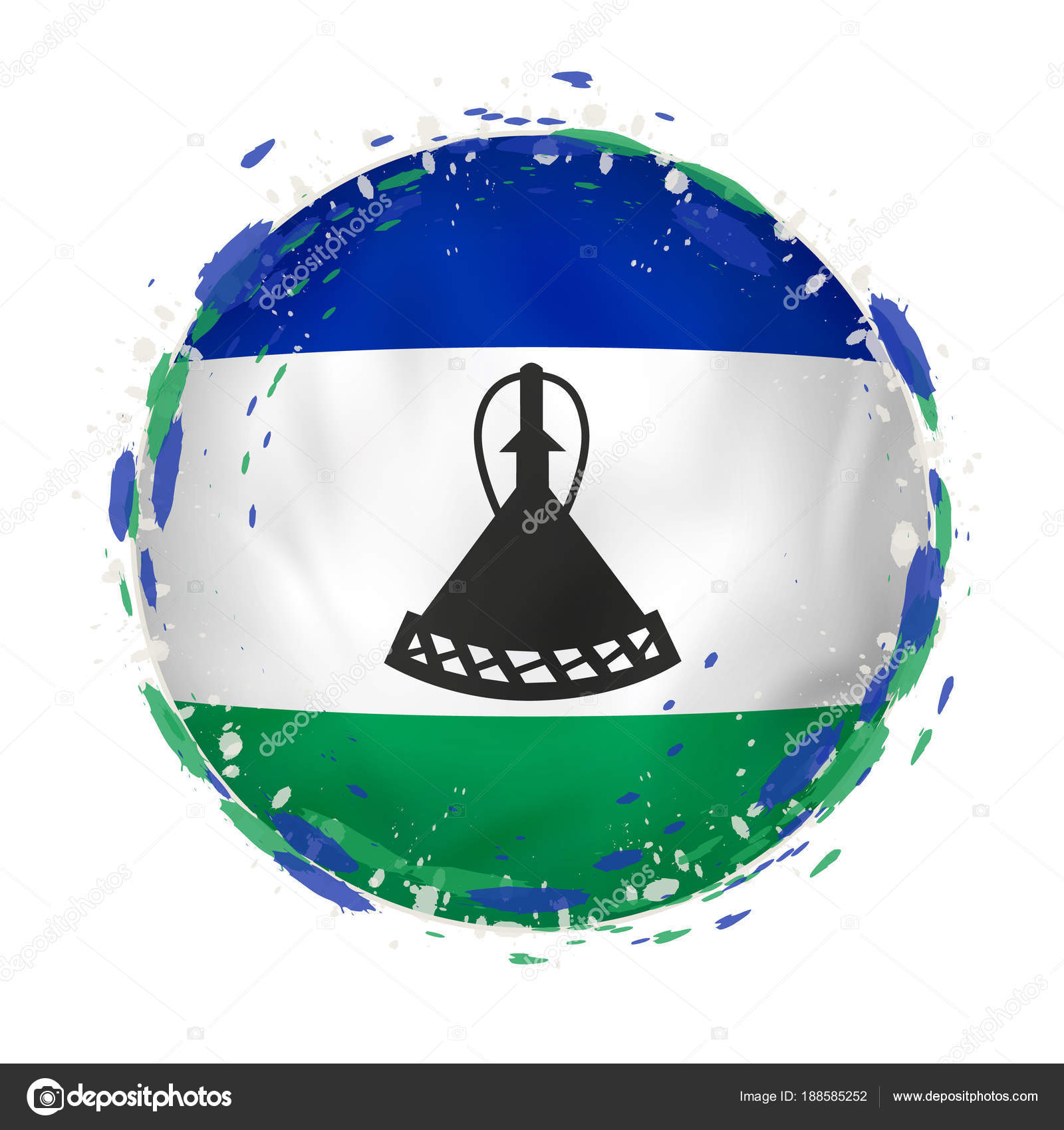 Round grunge flag of Lesotho with splashes in flag color. — Stock ...
