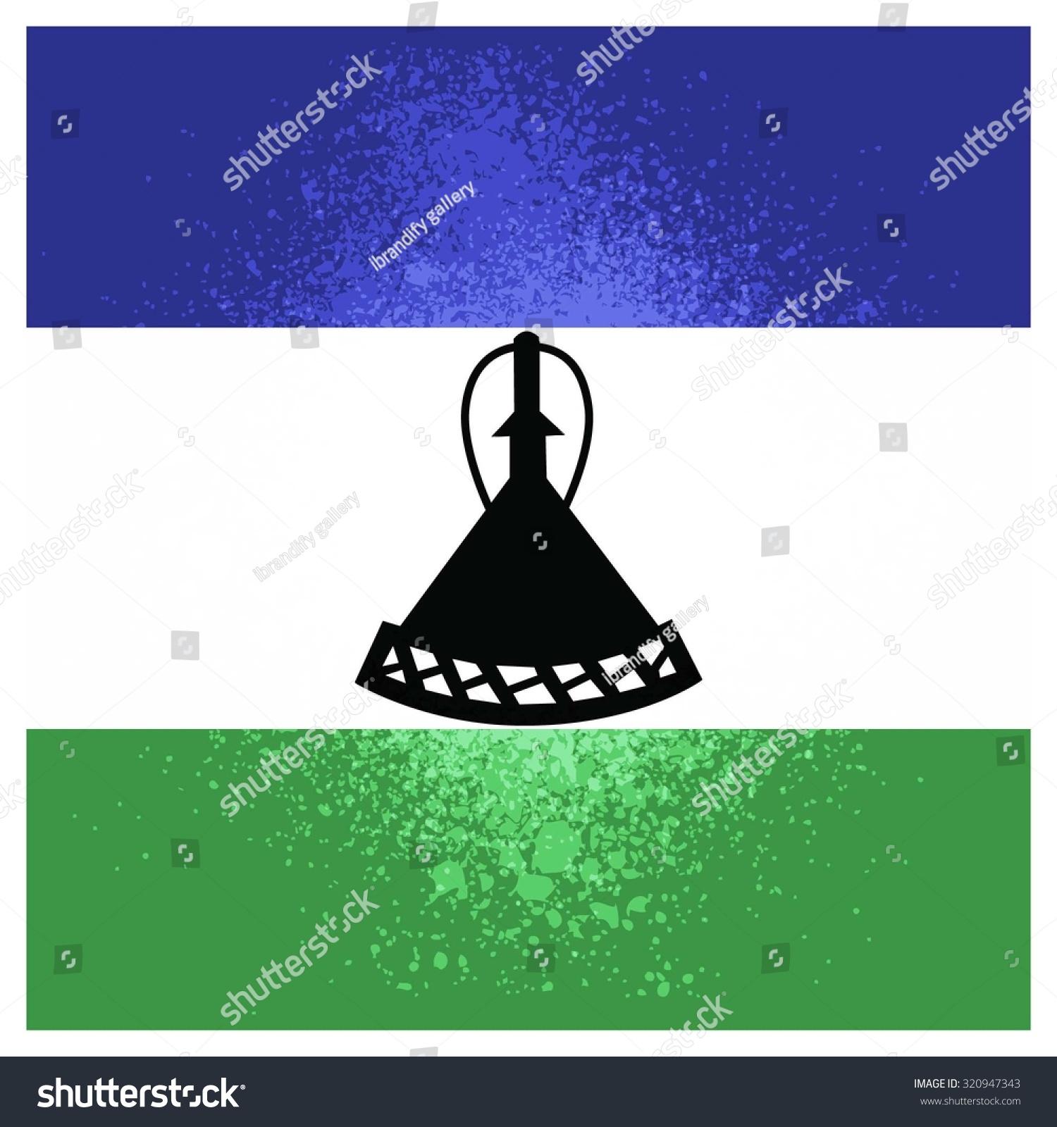 Grunge Background Lesotho Flag Celebration Card Stock Vector ...