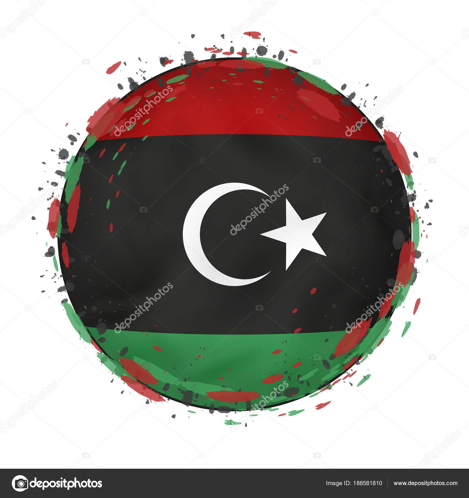 Round grunge flag of Libya with splashes in flag color. — Stock ...