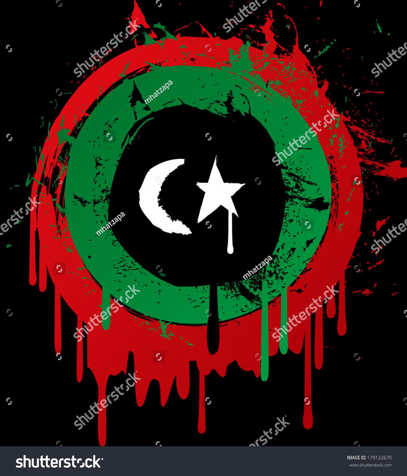 Libya Grunge Flag On Black Background Stock Illustration 179122670 ...