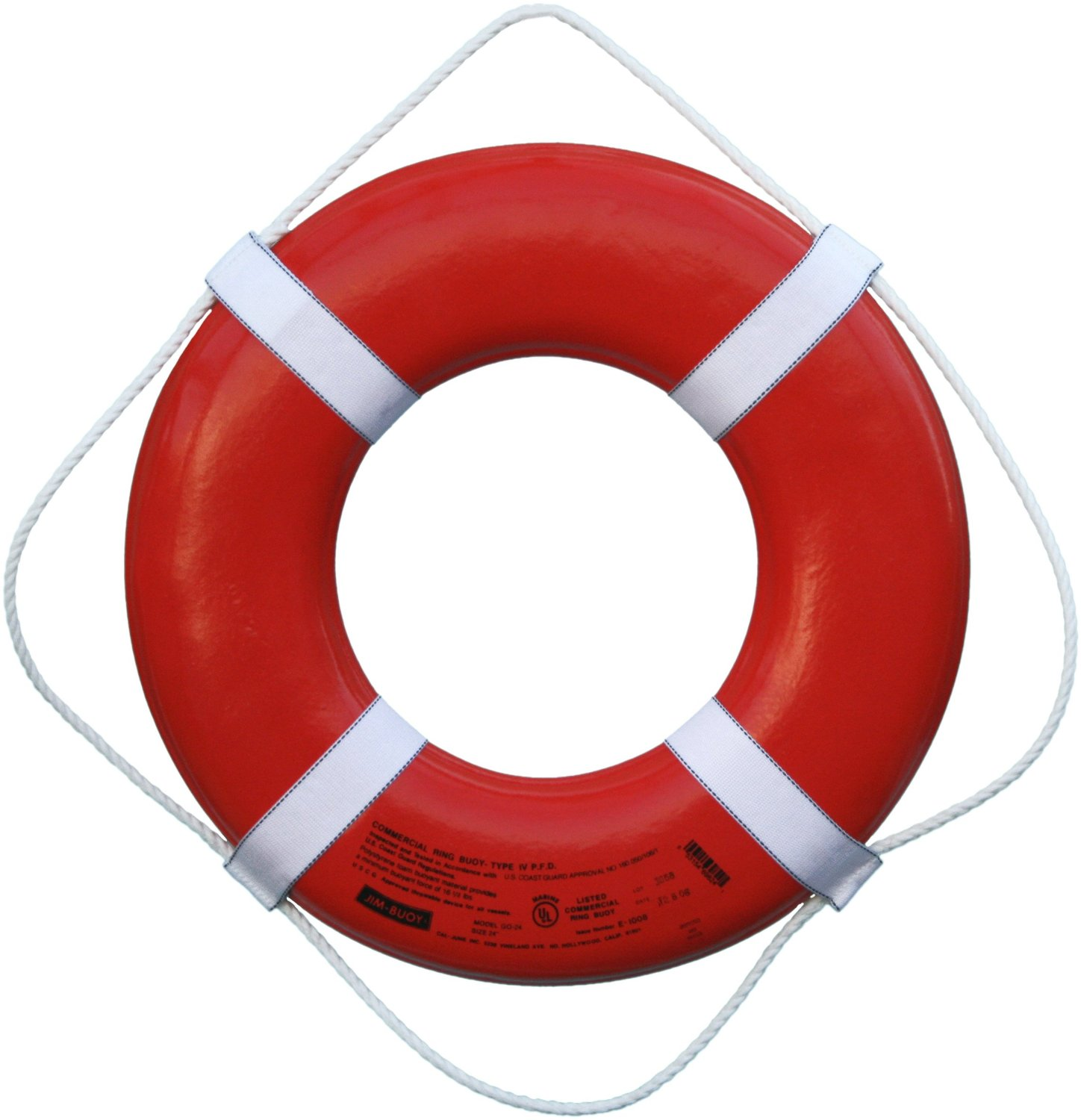 Cal June USCG Approved Jim Buoy Marine Boat Life Ring Buoy Orange 24 ...
