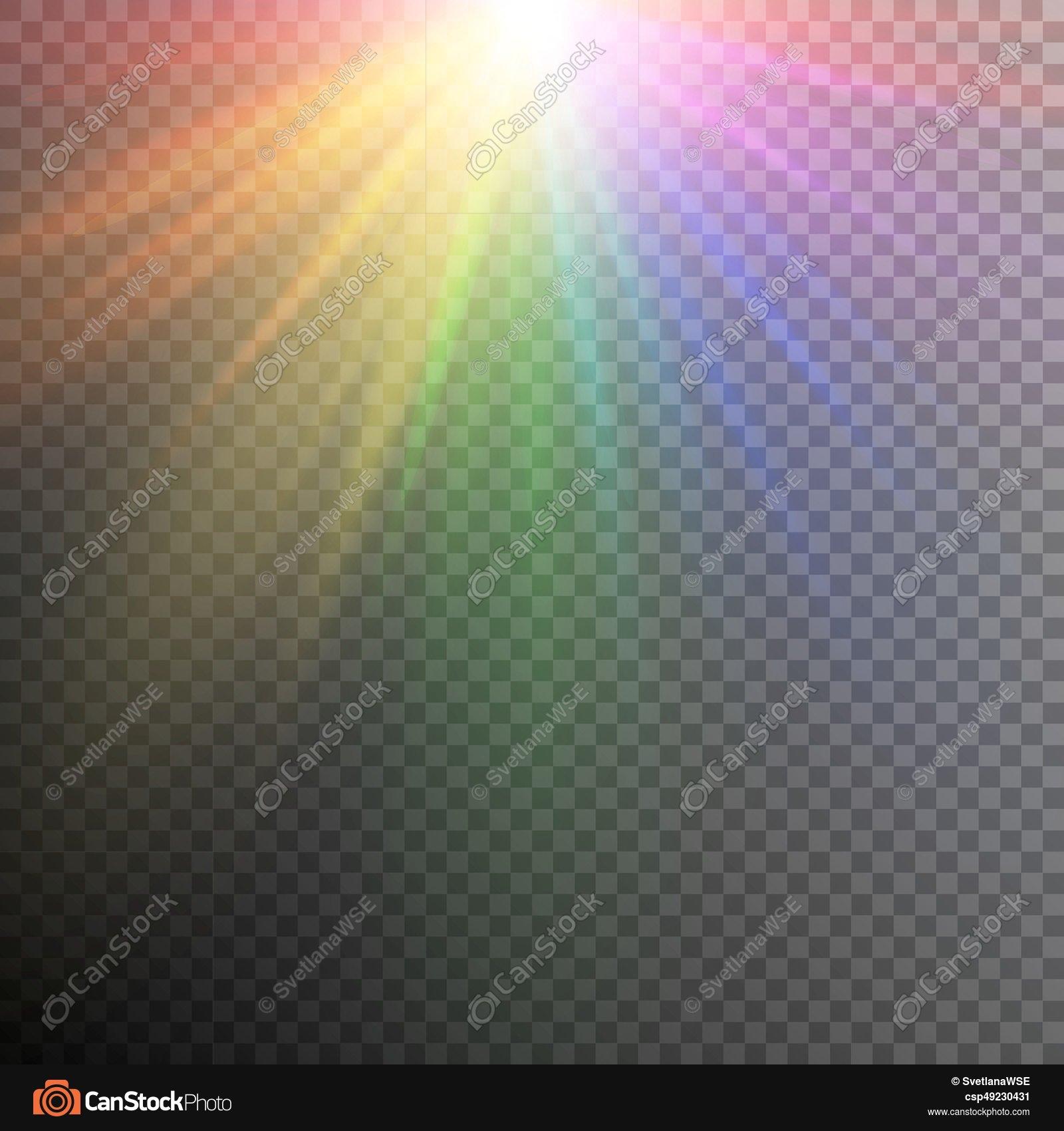 Rainbow light effects. Iridescent light effect on a... vectors ...