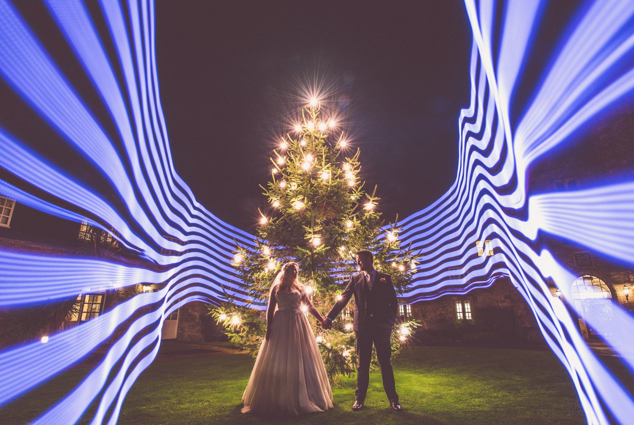 Wedding Portrait by Nick Murray Uses Creative Light Painting