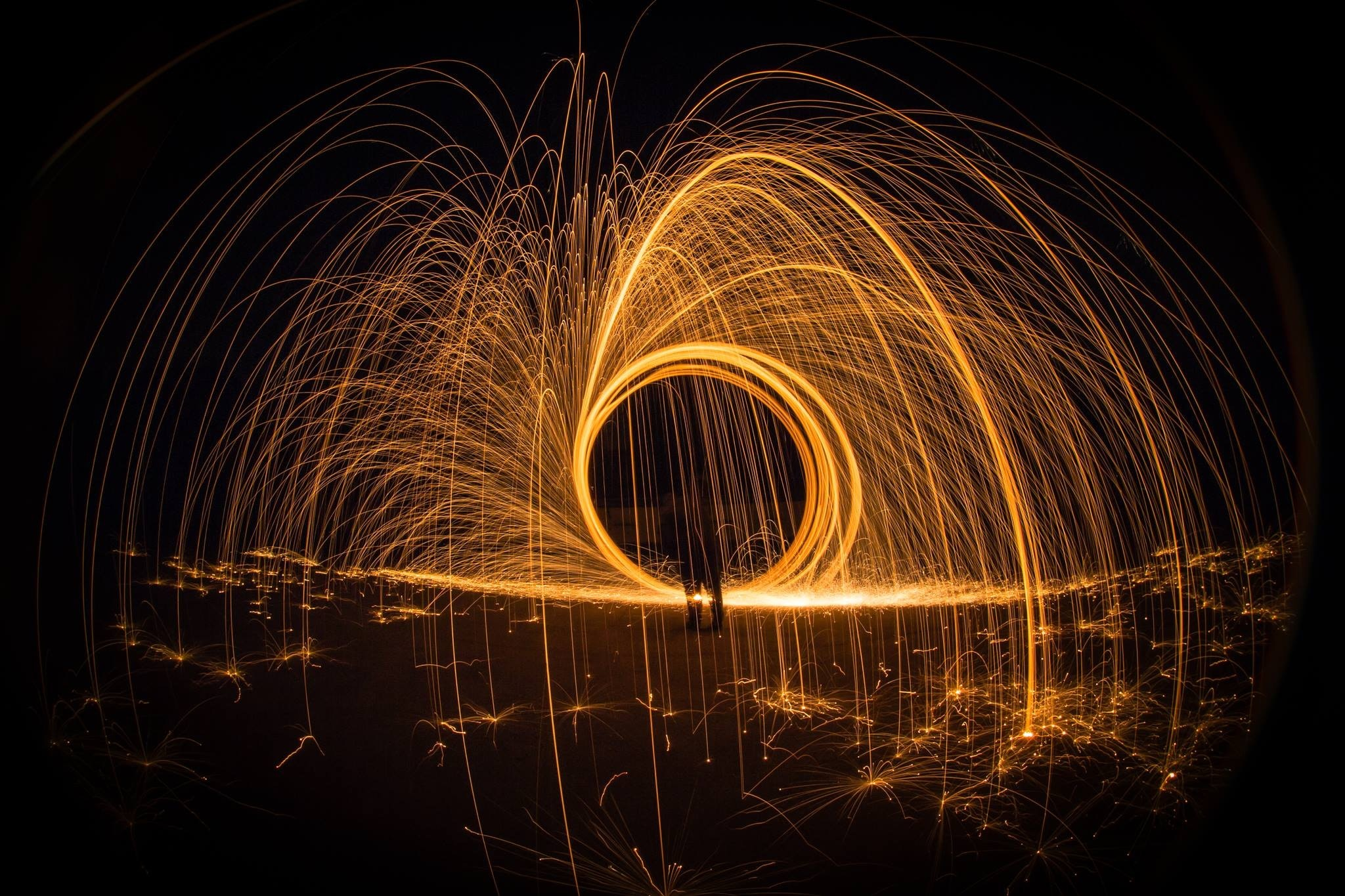 Light painting at night photo