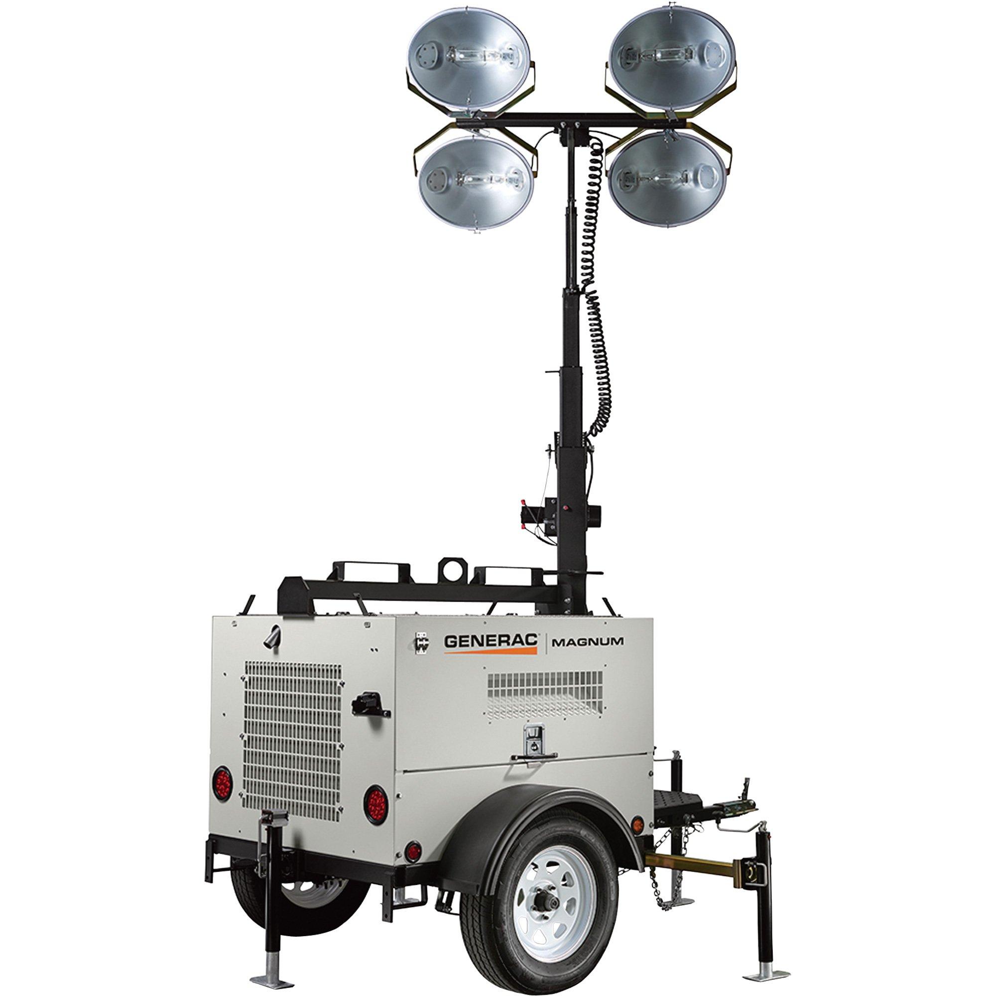 Generac Magnum MLT4080KV Mobile Light Tower — 8000 Watts, Kubota ...