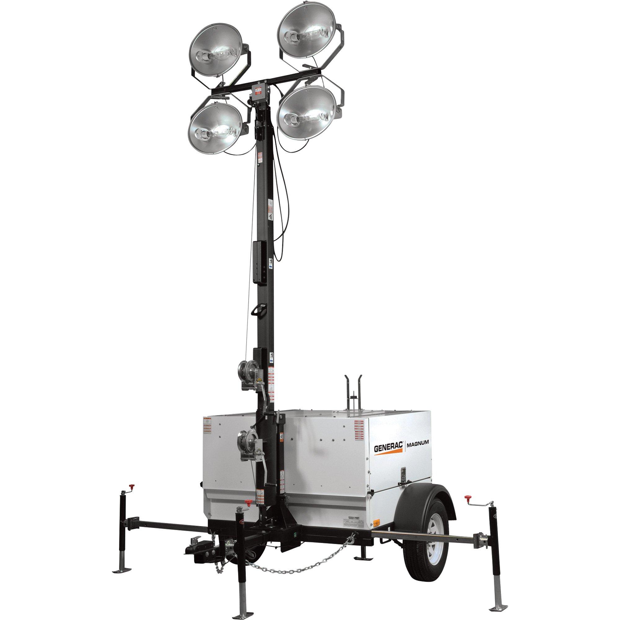Generac Magnum MLT5080K Mobile Light Tower — 8000 Watts, Kubota ...