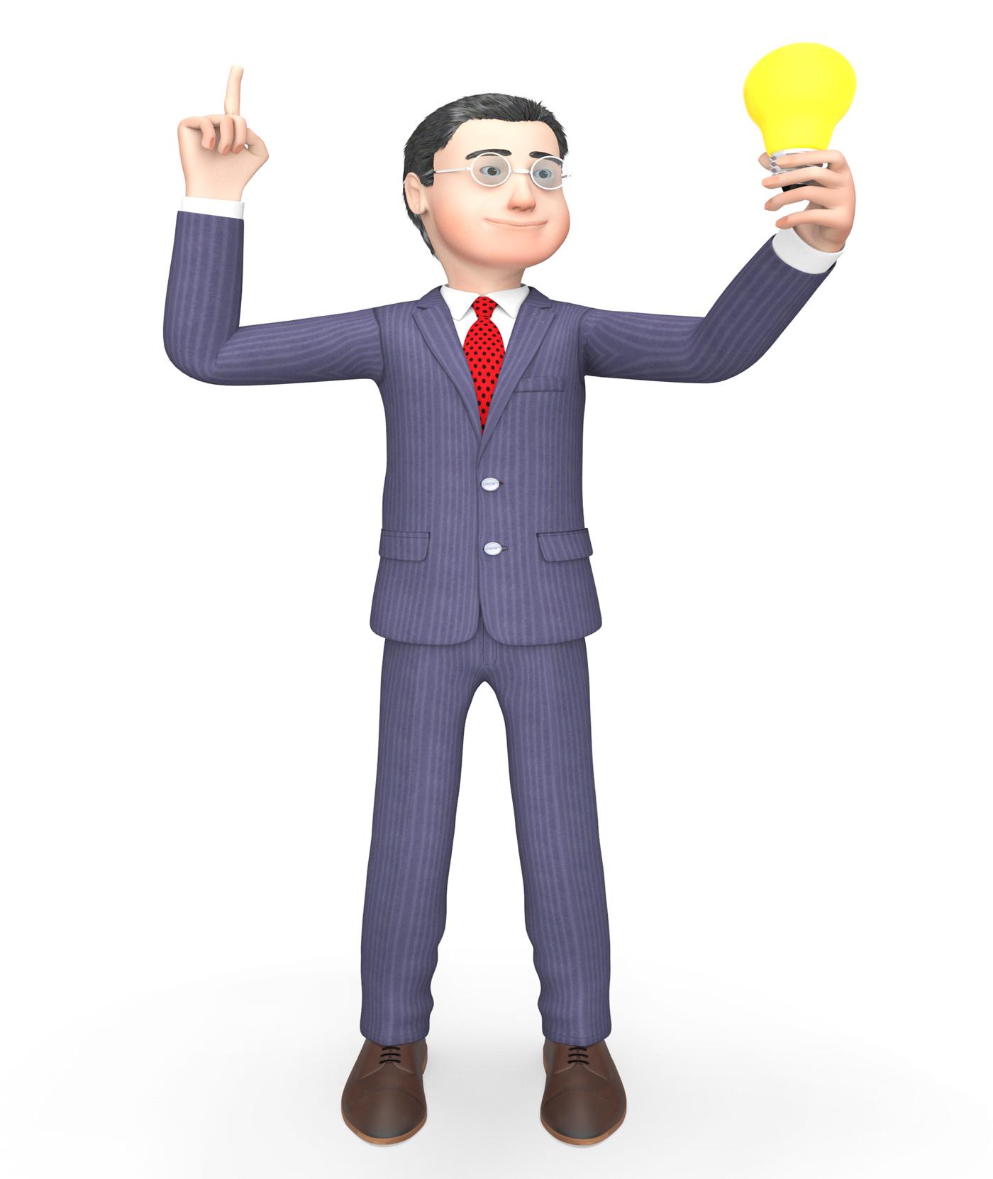 Lightbulb Businessman Means Render Illustration And Think 3d Rendering, 3drendering, Power, Invention, Lamp, HQ Photo