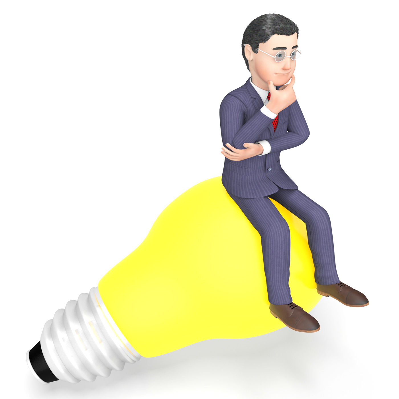 Lightbulb thinking indicates power source and character 3d rendering photo