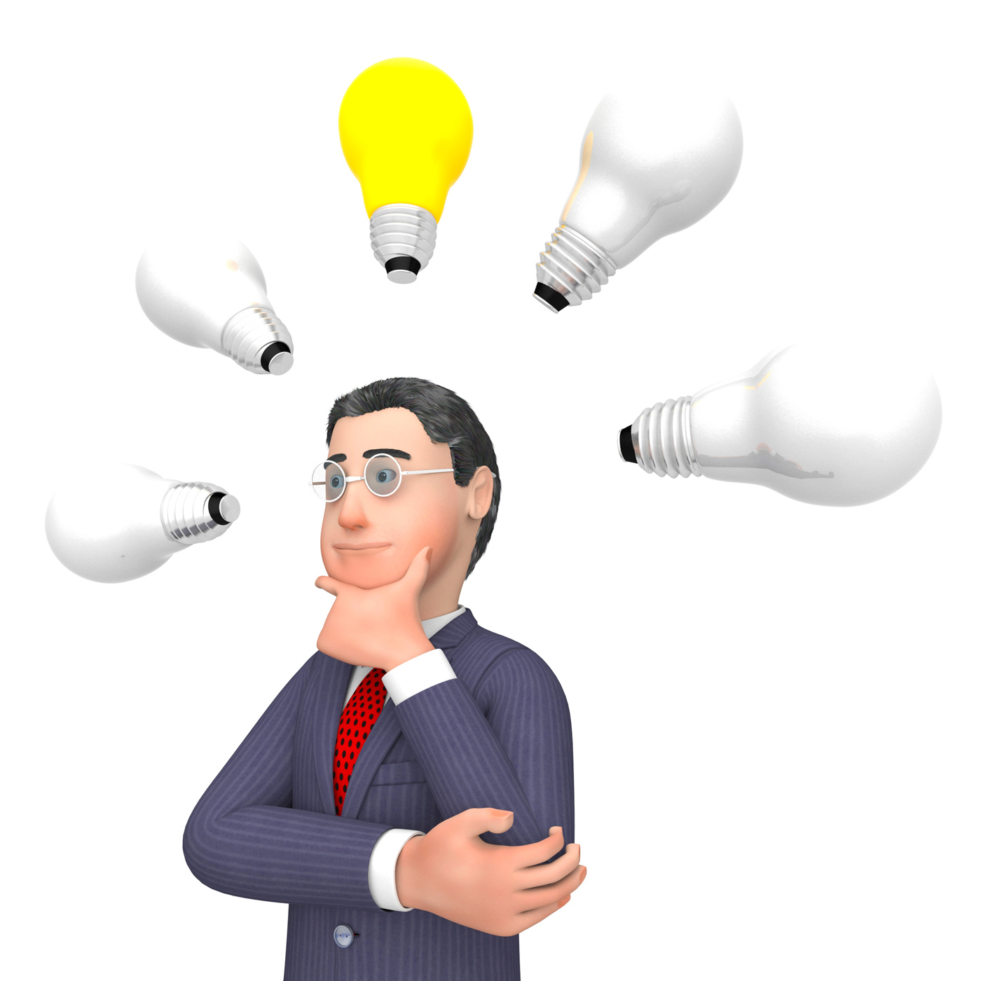 Lightbulbs Businessman Indicates Power Sources And Character 3d Render, Plan, Lamp, Lamps, Lightbulb, HQ Photo