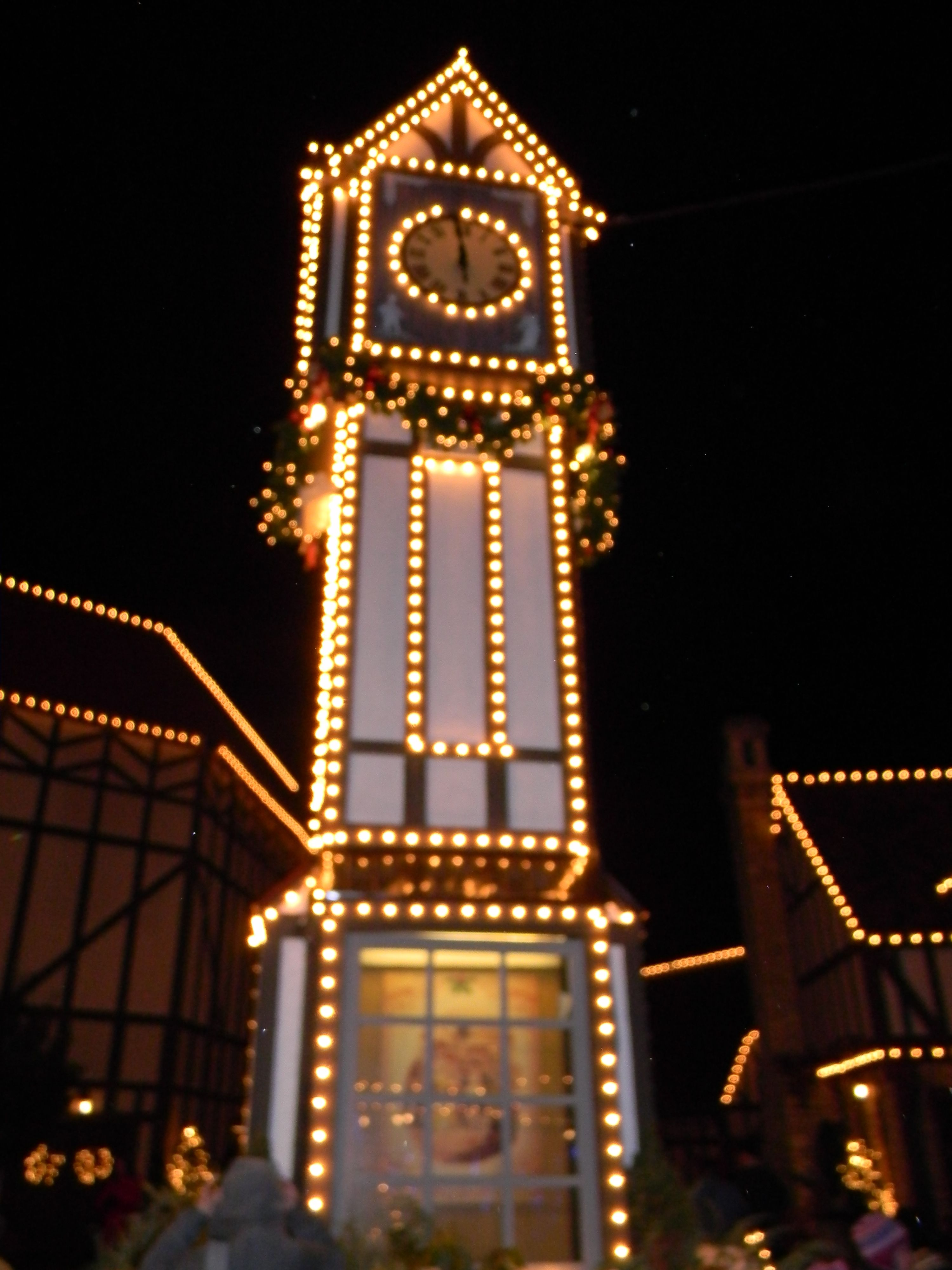 Lighted clock tower photo