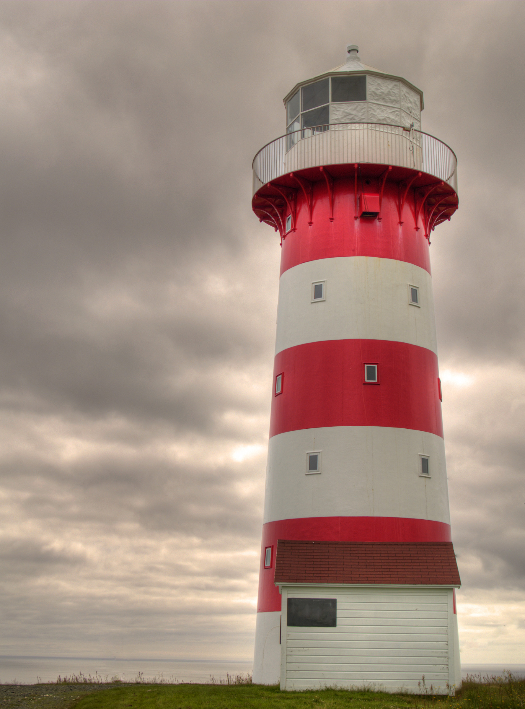 Lighthouse, Atlantic, Blue, Canada, Clouds, HQ Photo