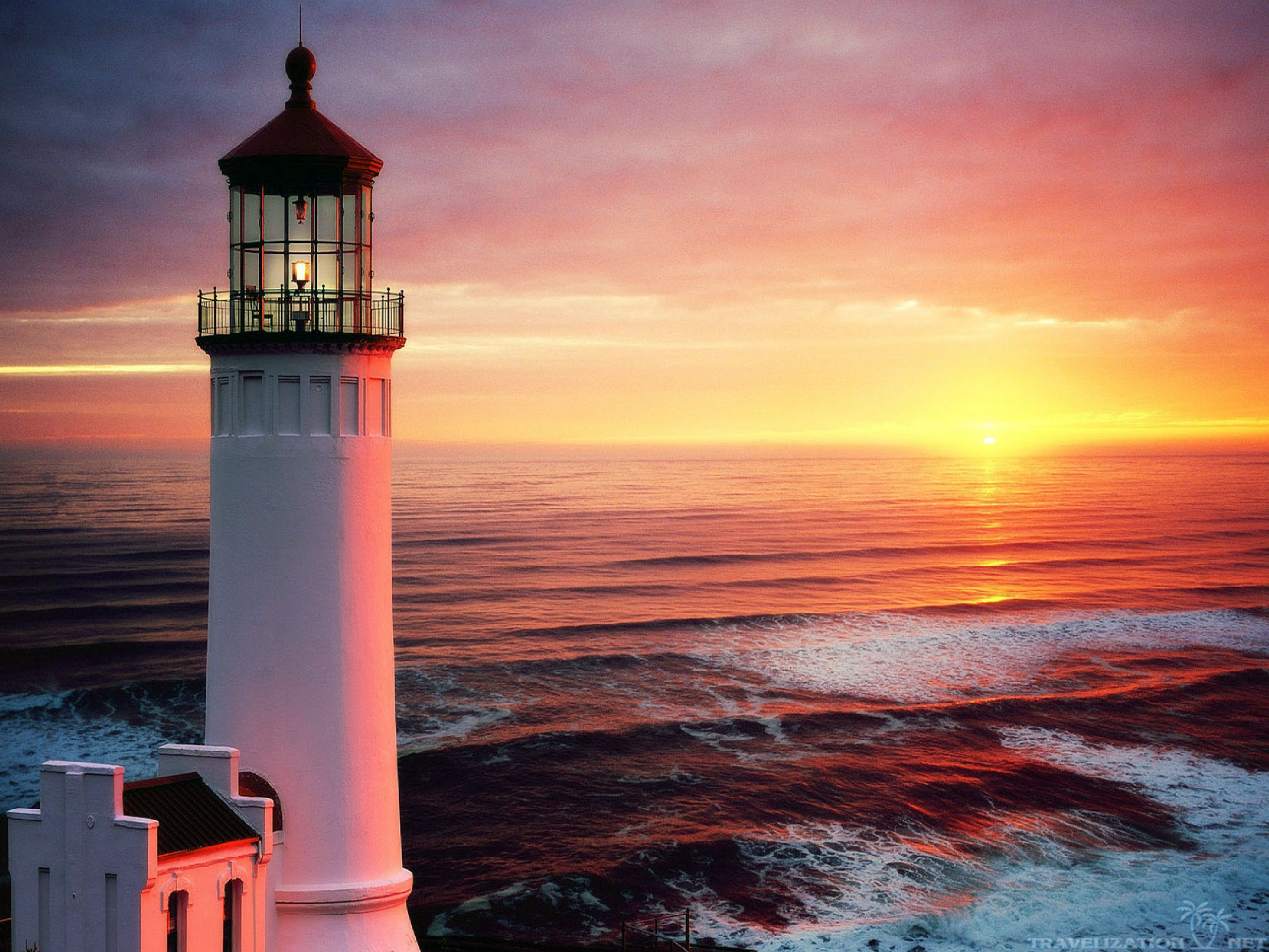 Beautiful Lighthouses at Sunset HD Wallpaper, Background Images