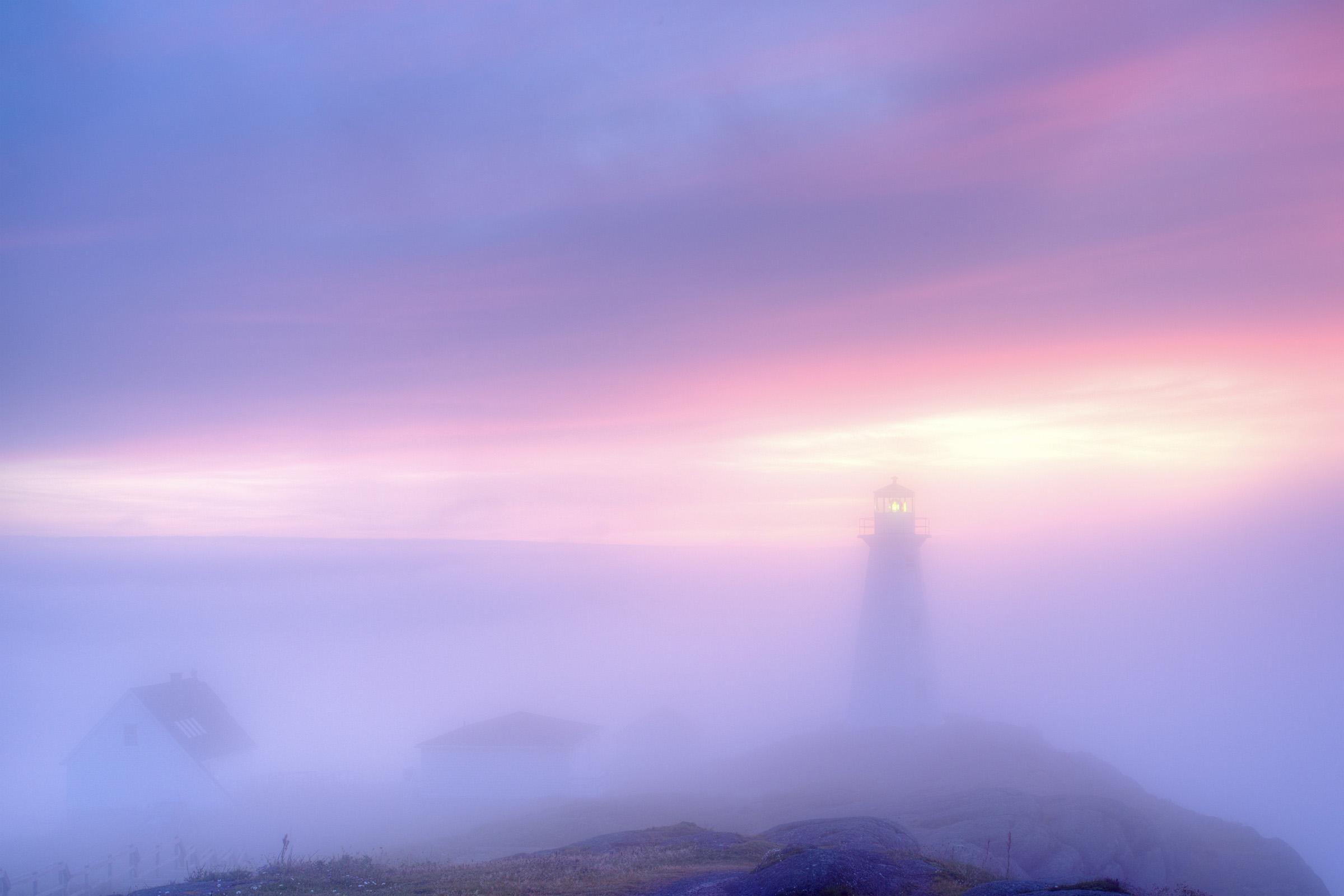Lighthouse in fog, Atlantic, Shore, Remote, Rock, HQ Photo
