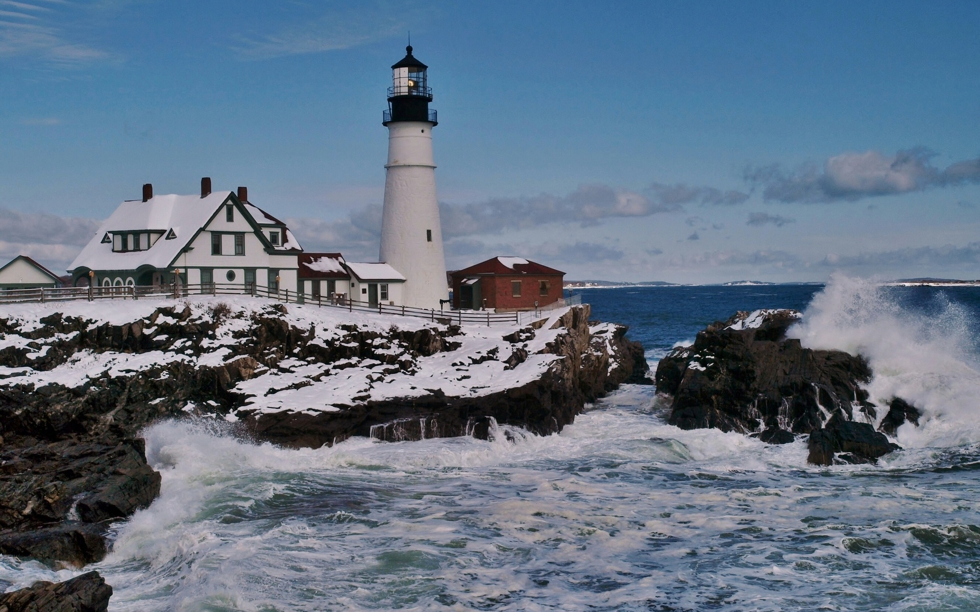 Lighthouse in winter photo