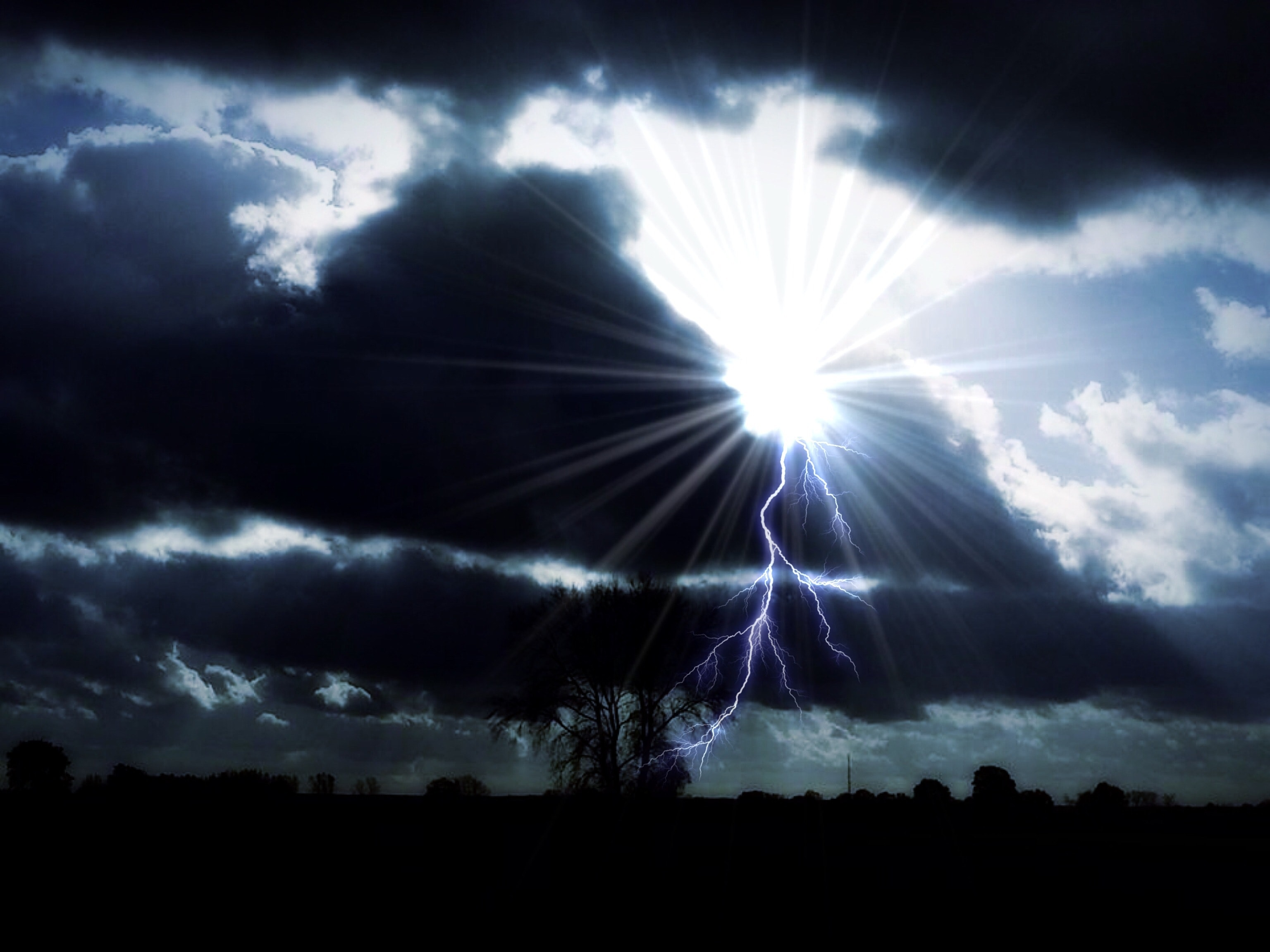 Lightning in Land, Clouds, Lightning, Silhouette, Sky, HQ Photo