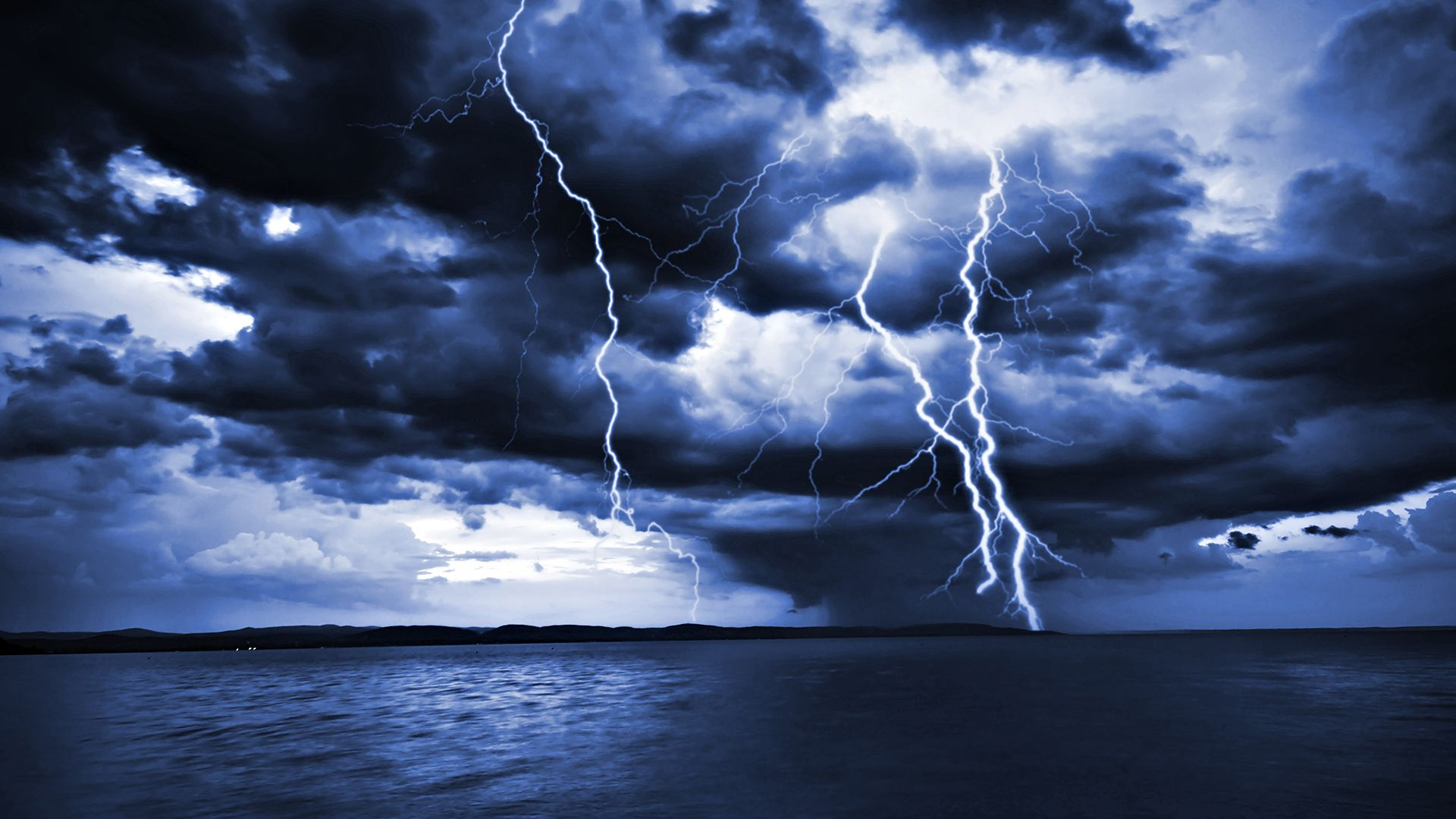 Lightning Storm at Sea | Massive thick lightning bolts hit the ...
