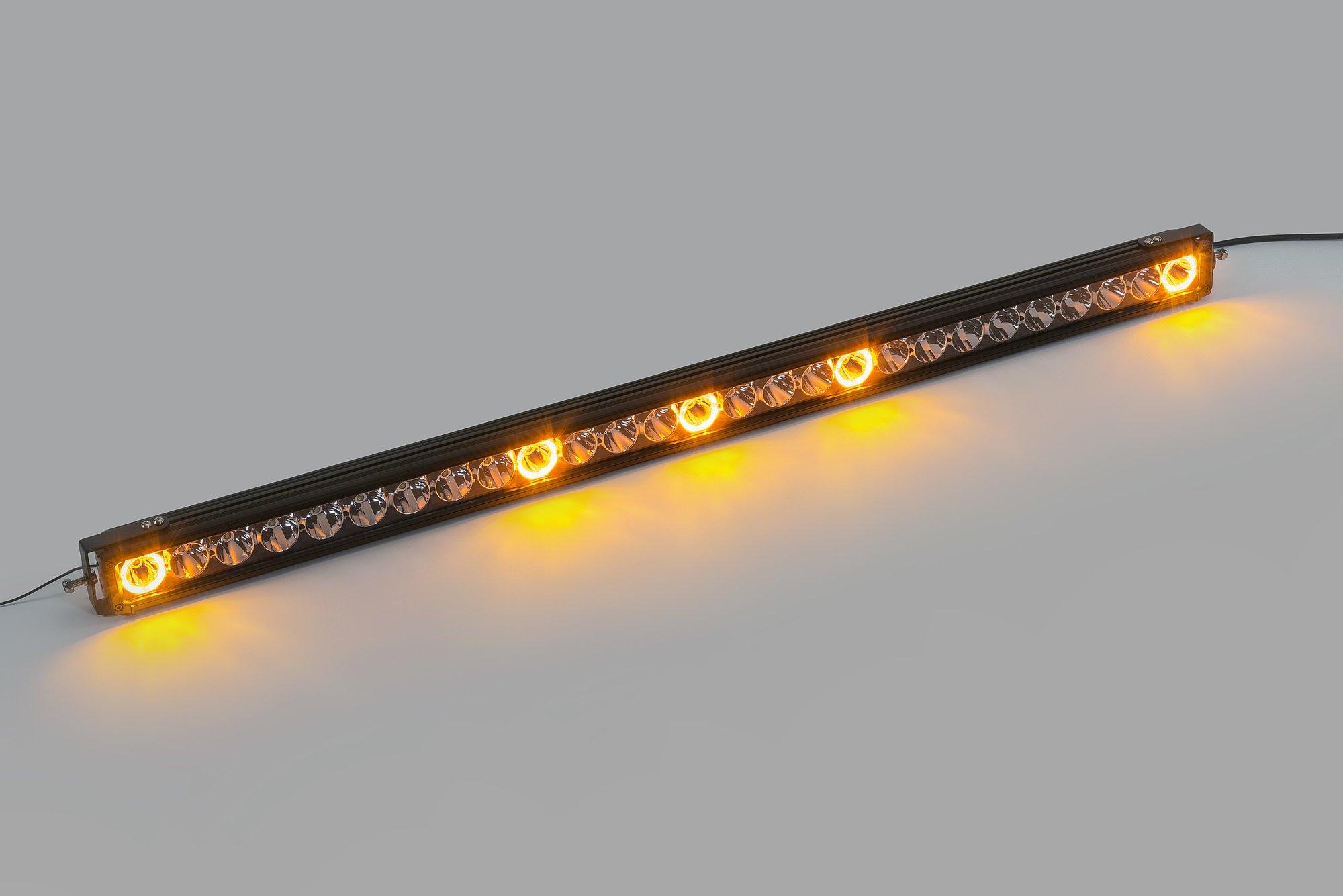 Quadratec J5 LED Light Bar with Amber Clearance Cab Lights   Quadratec