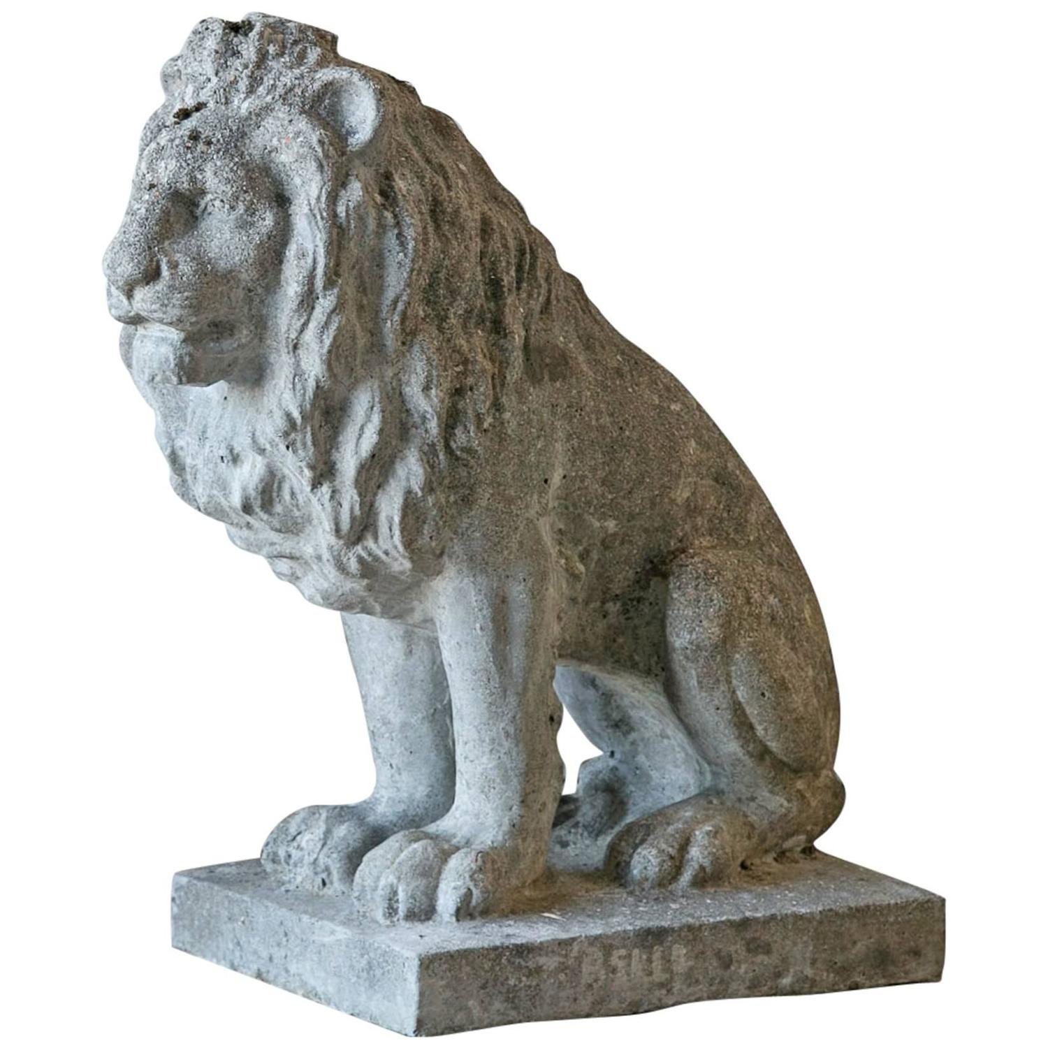 Antique French Stone Lion Statue, 1930 at 1stdibs