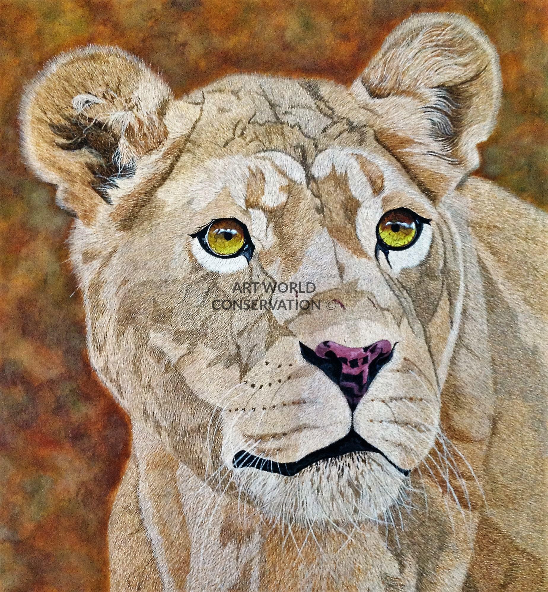 Art World Conservation   Lion & Lioness   Wildlife Art London