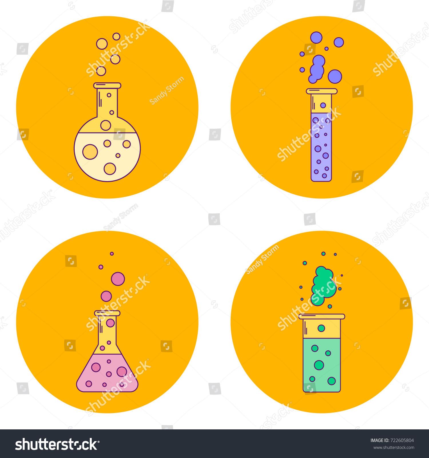 Illustration Set Orange Icons Flask Liquids Stock Illustration ...
