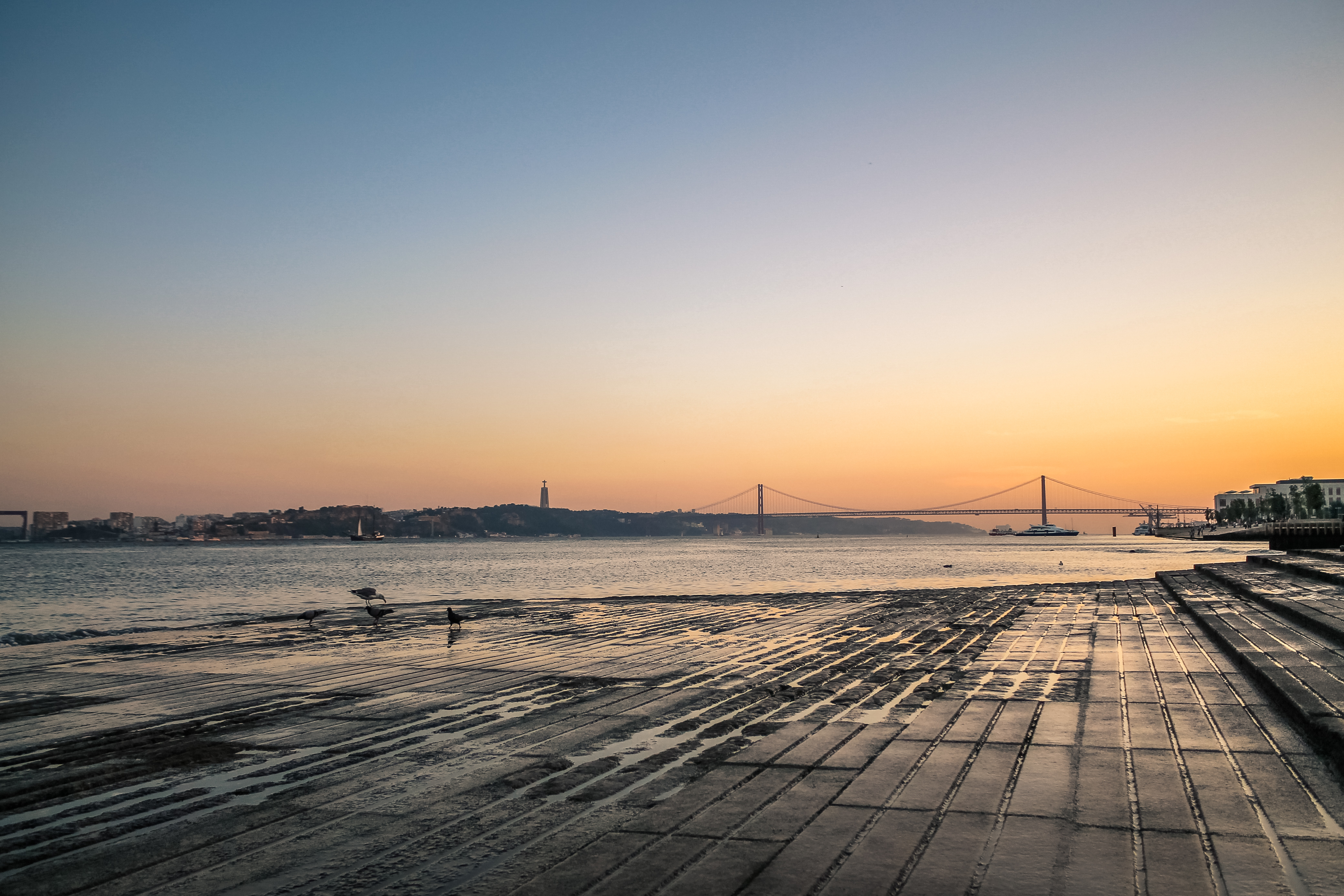 Lisbon river side at sunset, Sky, Outdoor, Portugal, Portuguese, HQ Photo