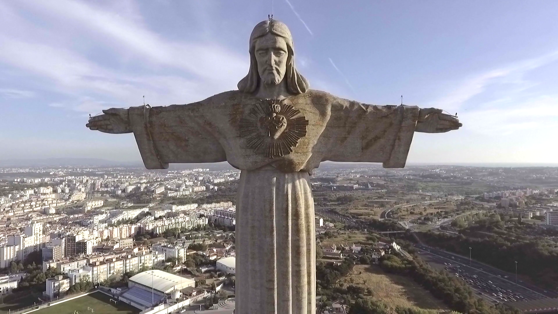 Christ the King statue in lisbon, portugal, aerial shot Stock Video ...