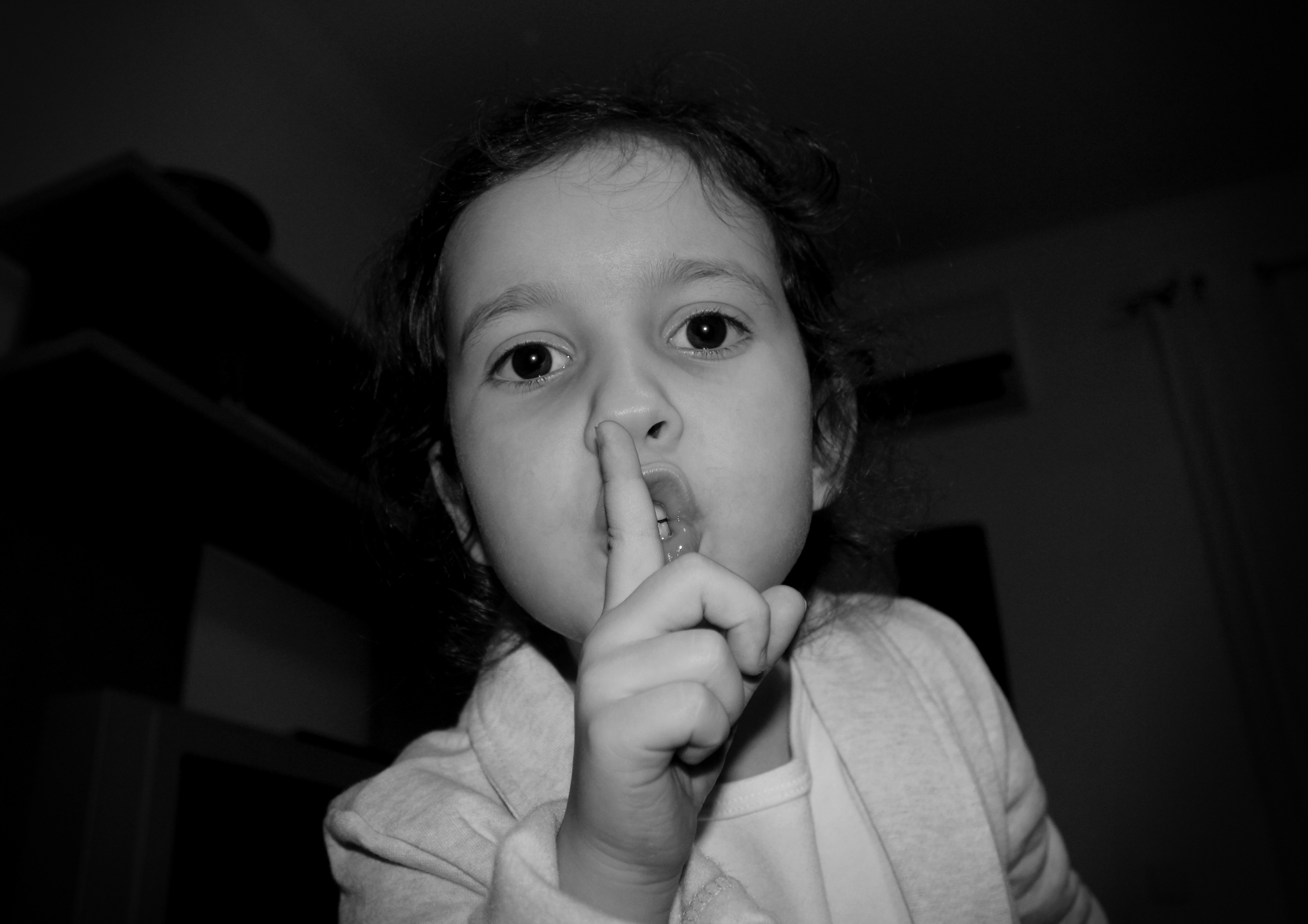 Little Angry Girl - Shut Up Gesture, Adorable, Quiet, Mouth, Multiethnic, HQ Photo