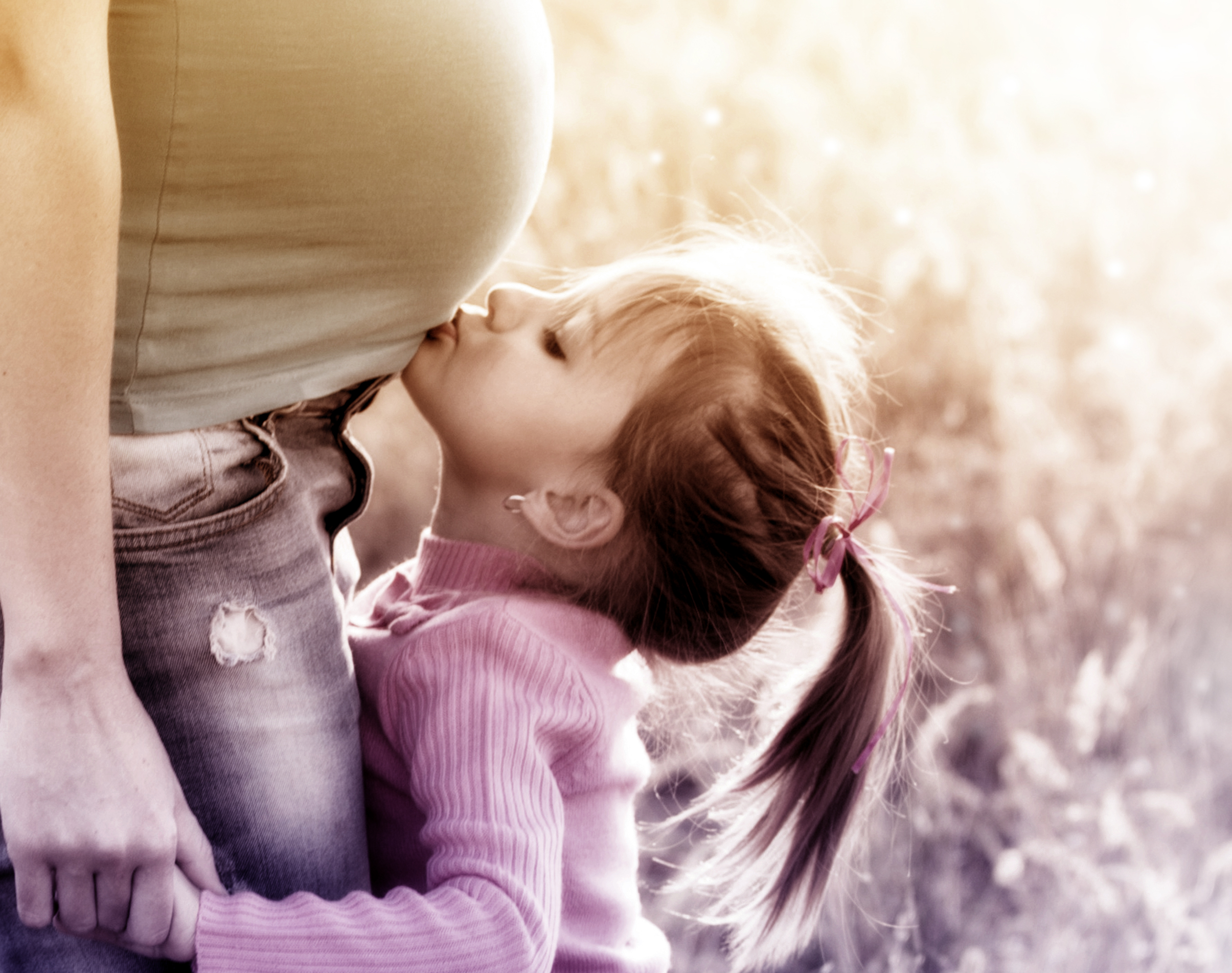 Little Blonde Girl Kissing Pregnant Mother, Adult, Motherhood, Parenthood, Parent, HQ Photo