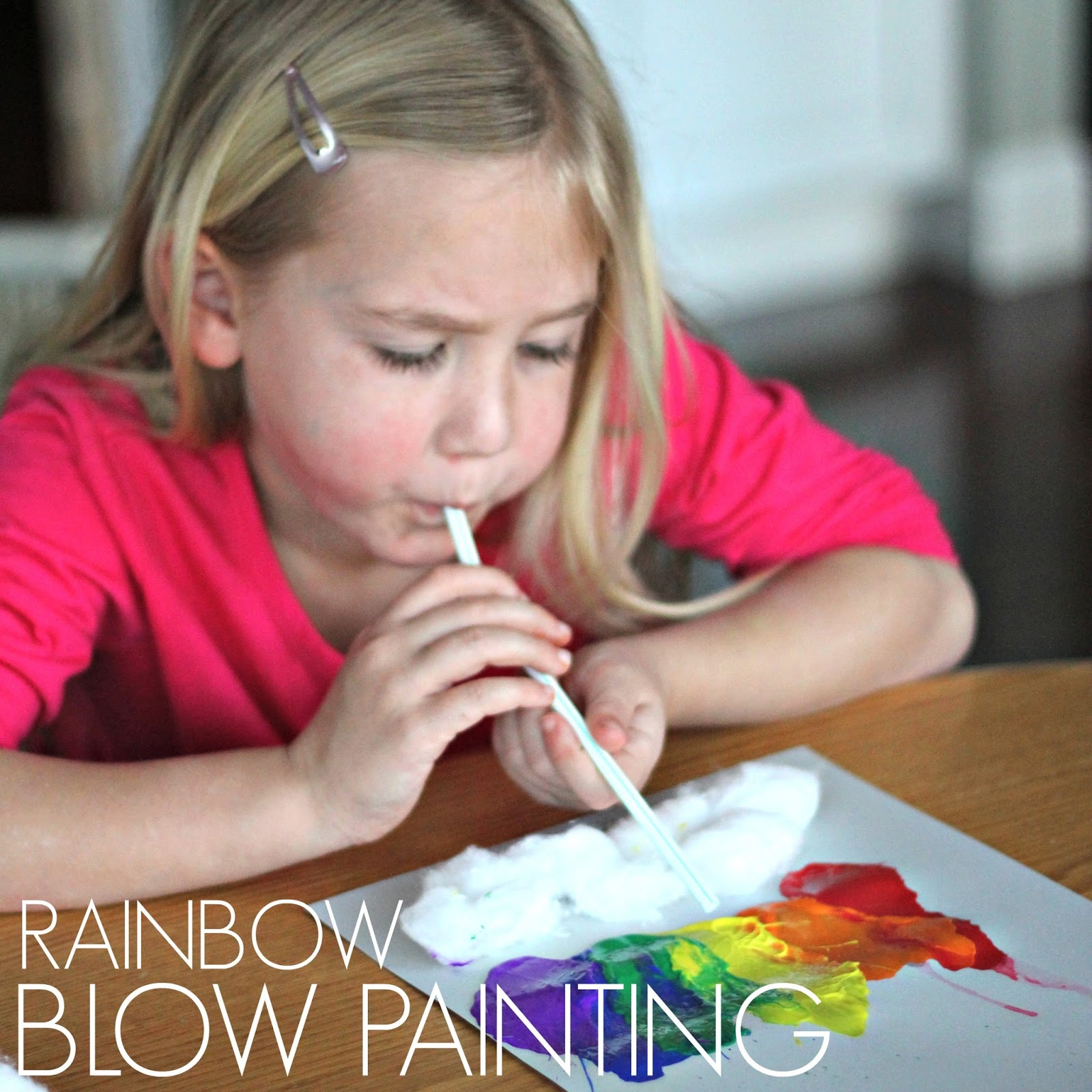 Toddler Approved!: STEAM Challenge: Little Cloud & Rainbow Blow Painting