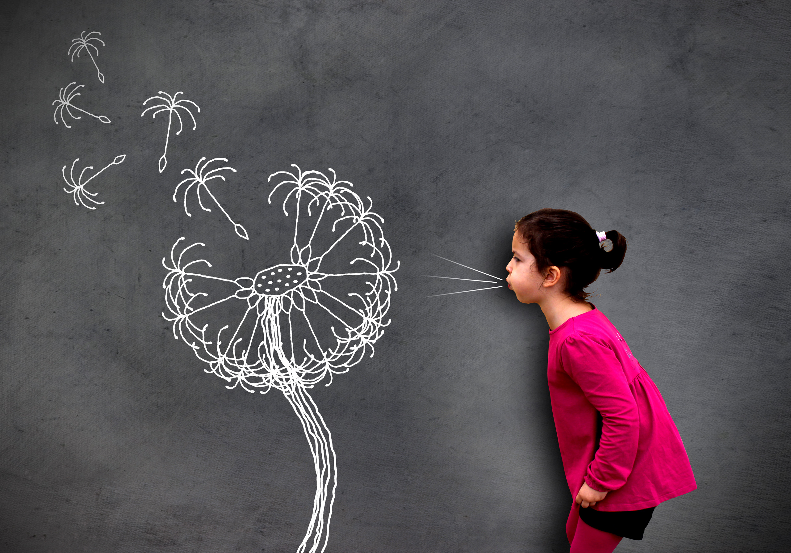 Little cute girl blowing dandelion seeds on chalkboard photo
