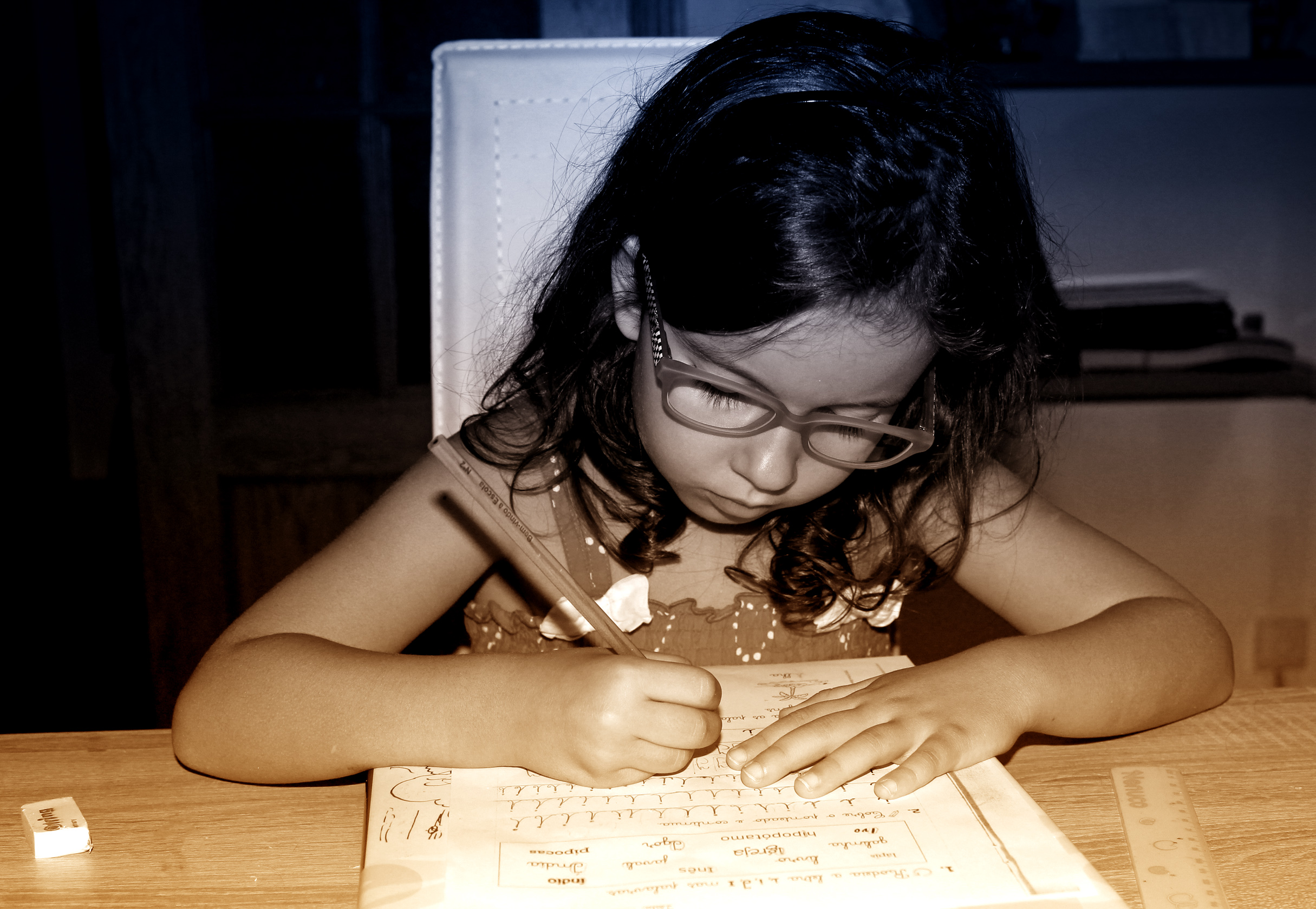 Little Girl Doing Homework, Active, Papers, Pink, Pigtails, HQ Photo