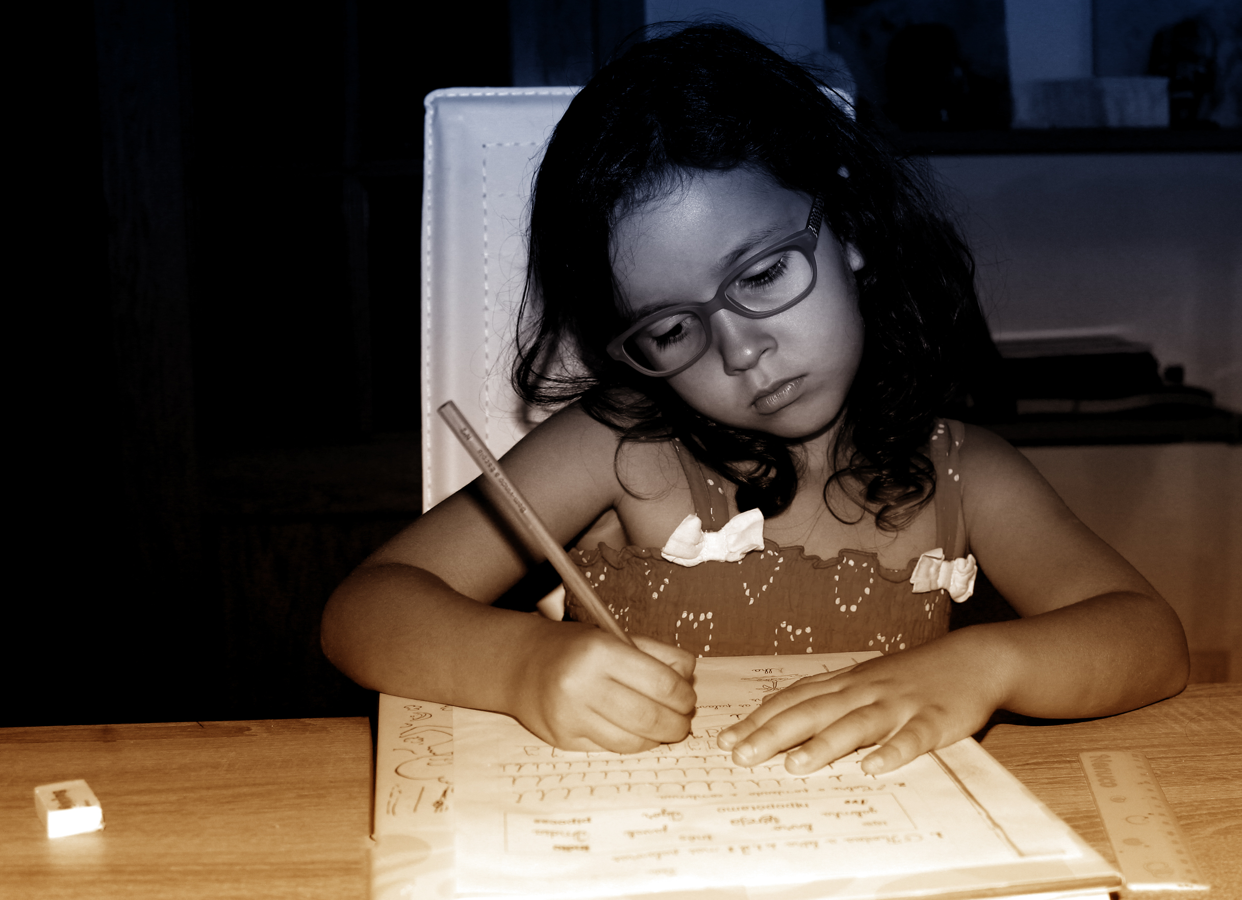 Little Girl Focused On Doing Homework, Active, Overall, Pigtails, Person, HQ Photo