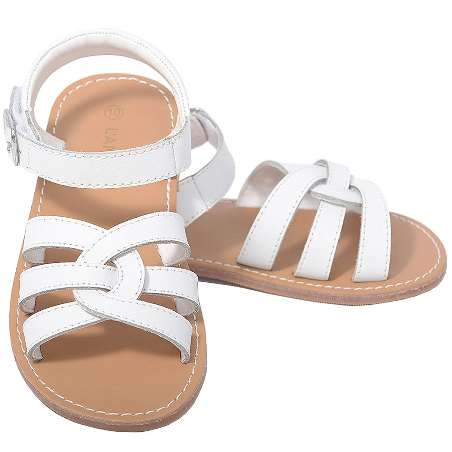 Amazon.com | L'Amour White Woven Strap Summer Sandals Toddler Girls ...
