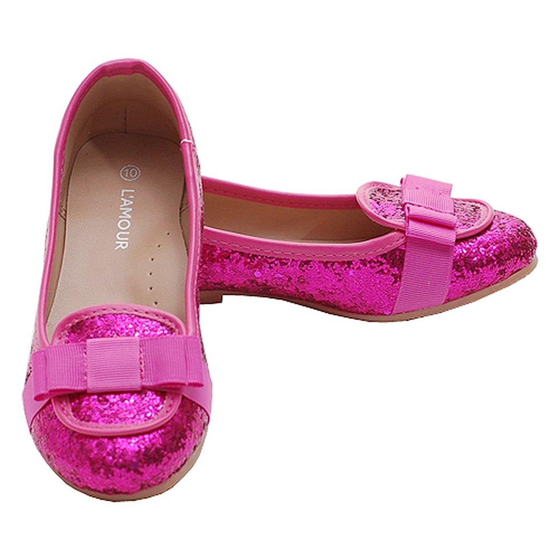 Amazon.com | Toddler Girls Fuchsia Glitter Bow Slip On Loafer Dress ...
