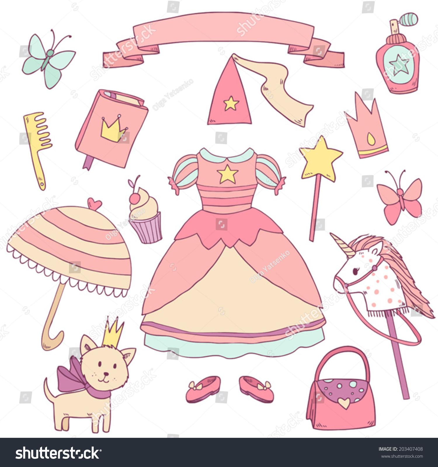 My Little Princess Set Cute Vector Stock Vector 203407408 - Shutterstock