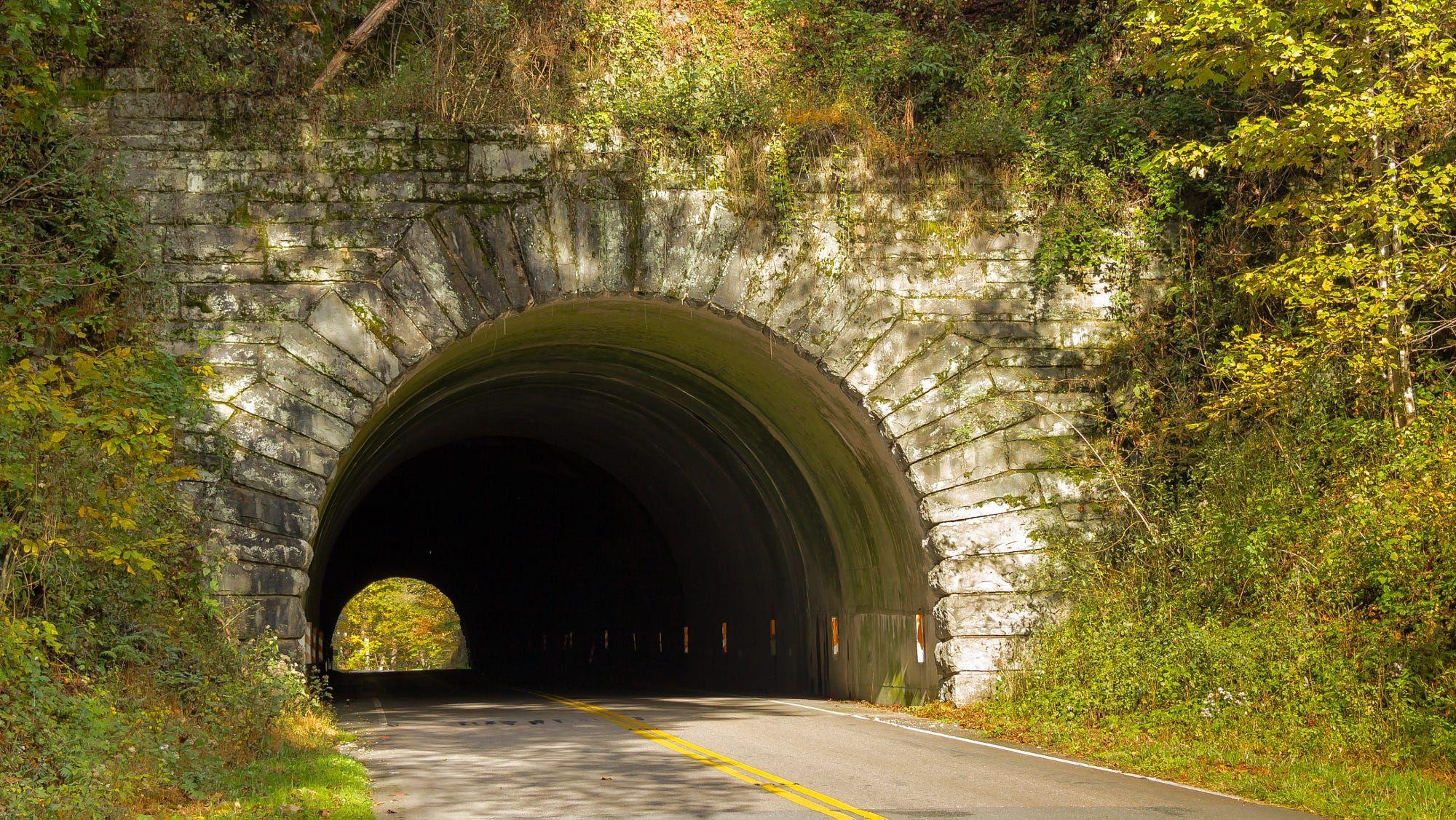 Little Switerland Tunnel on the Blue Ridge Parkway in North Carolina ...