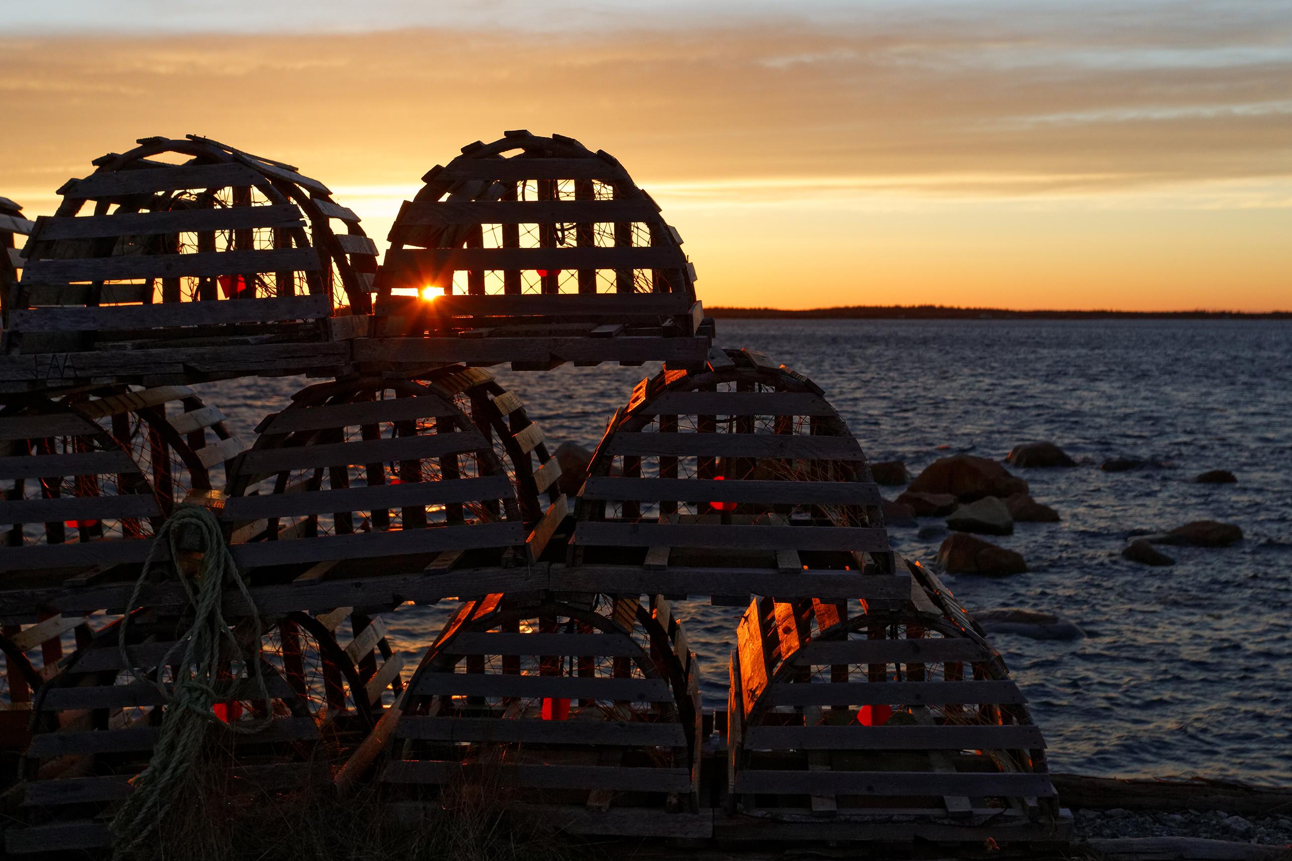 Sunset fishing pots photo