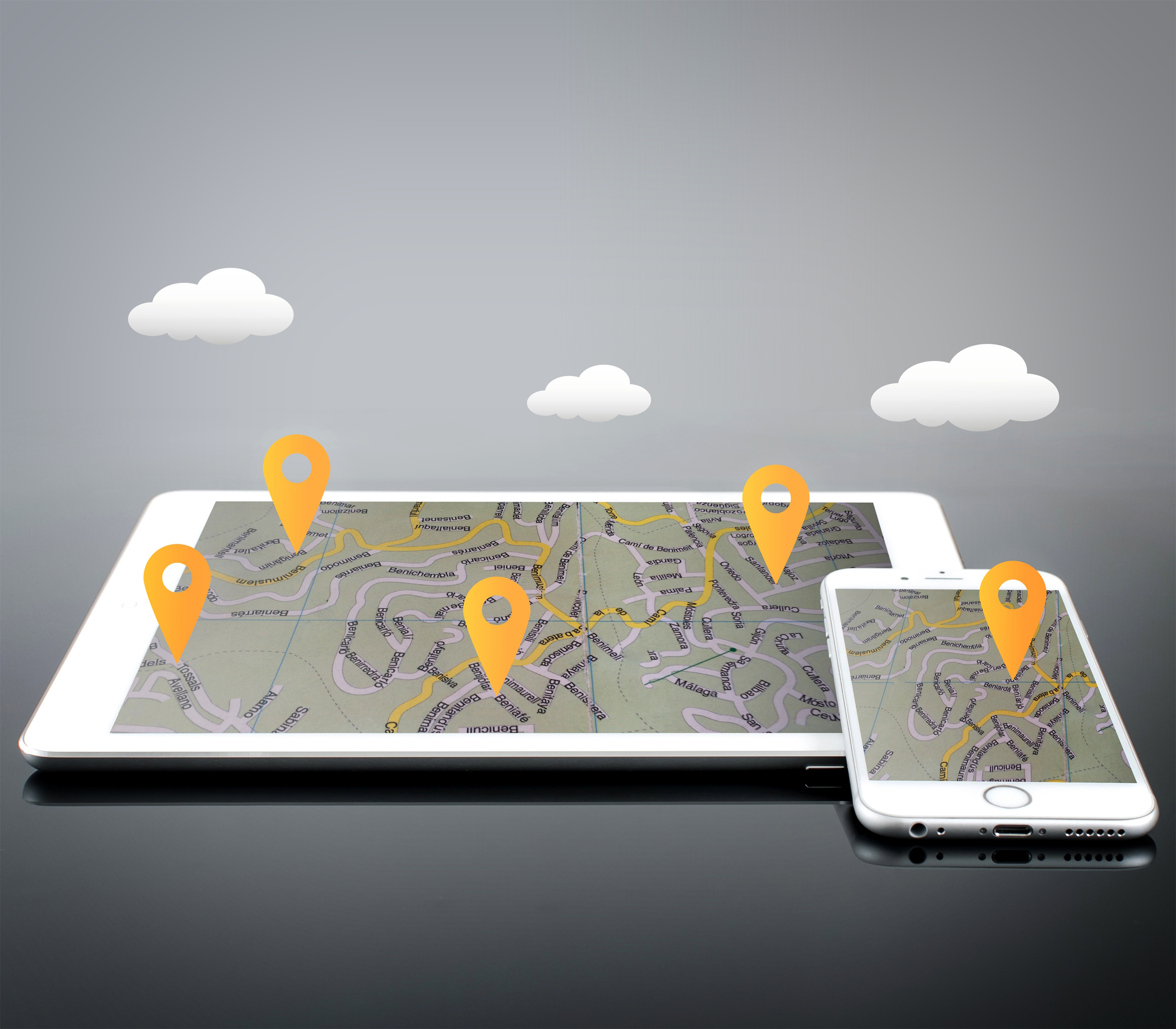 Location Markers on Devices - GPS and Navigation, 3d, Position, Screen, Satellite, HQ Photo