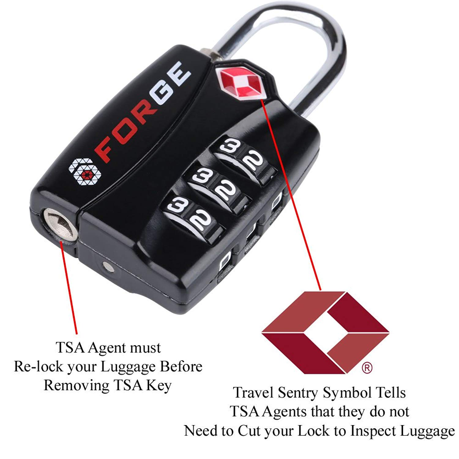 Amazon.com | Forge TSA Lock 4 Pack - Open Alert Indicator, Easy Read ...