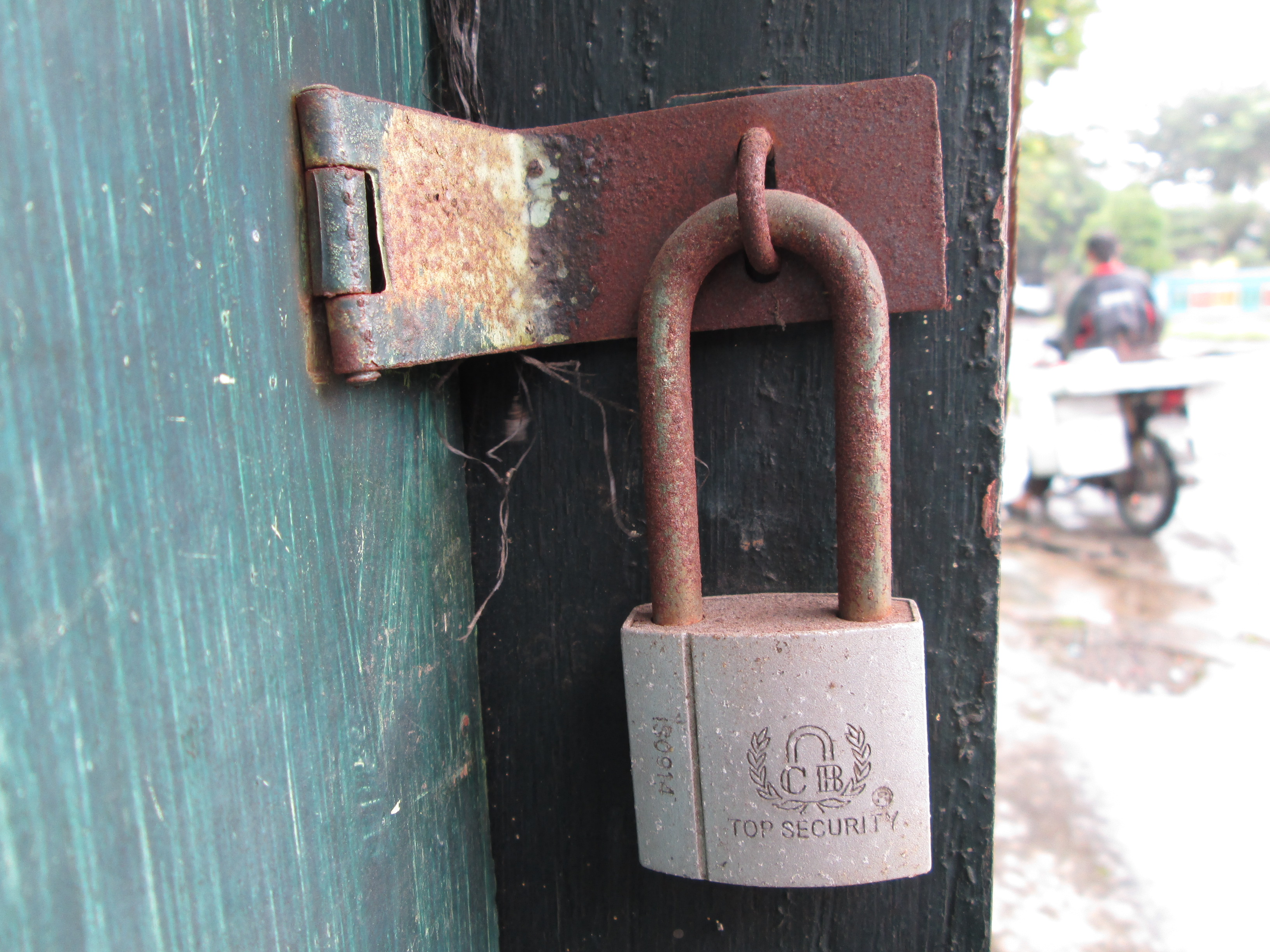 Lock, Door, Green, Iron, Rusted, HQ Photo