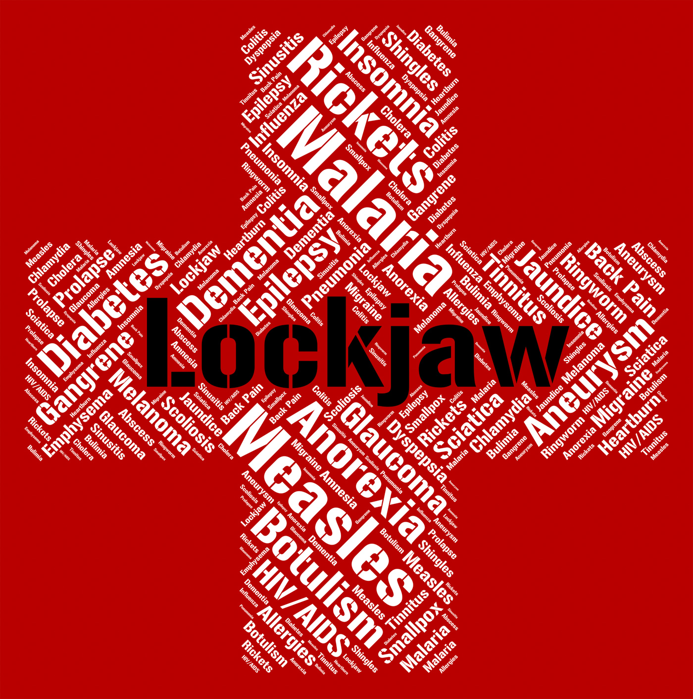Lockjaw word shows poor health and affliction photo