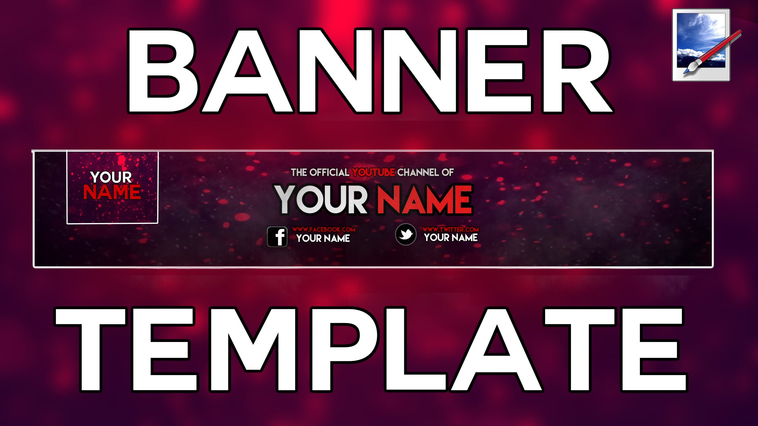 BEST) FREE Youtube Banner/Logo Template! + SpeedArt - 2016 (Paint ...