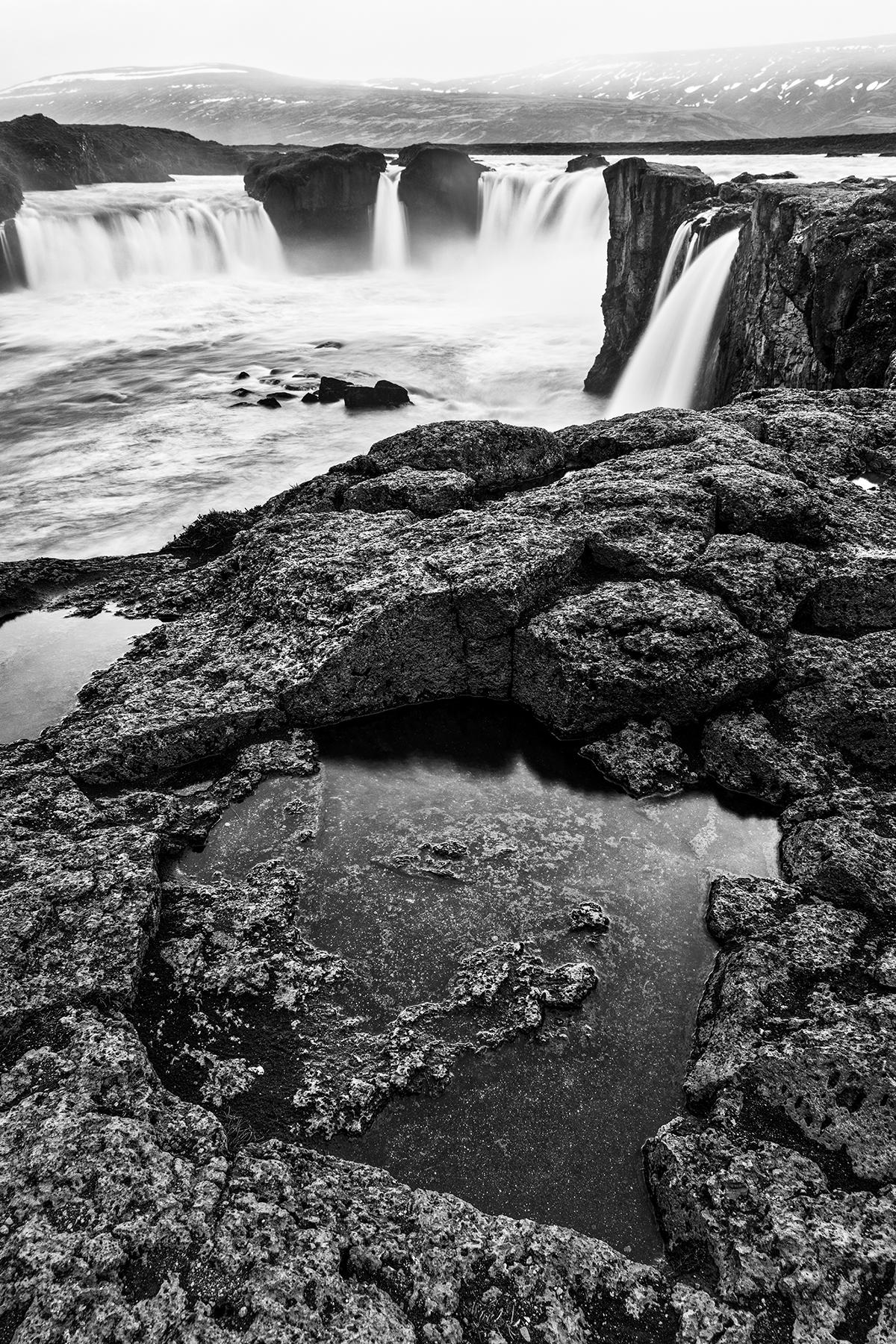 Loki falls - black & white photo