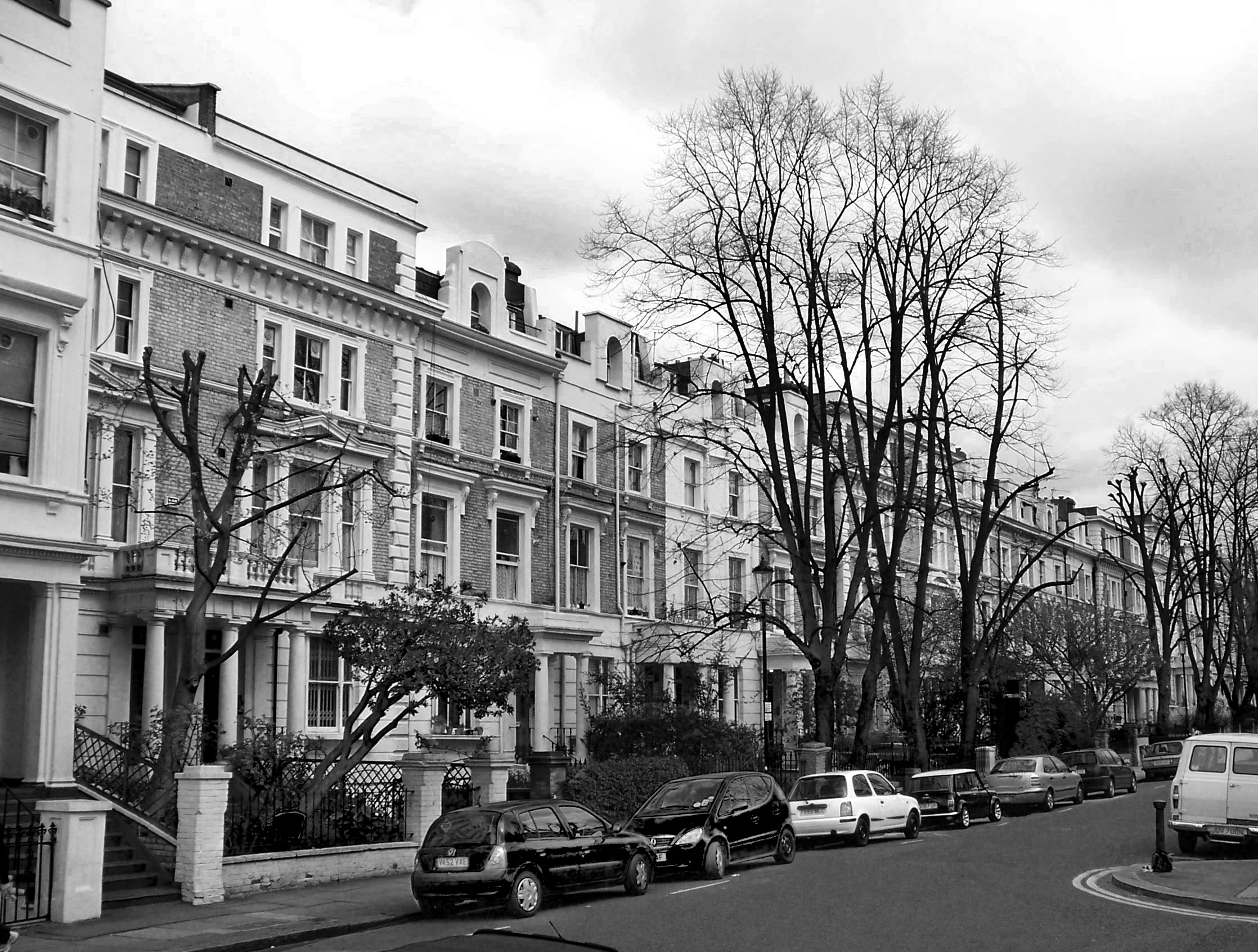London, Apartments, Blackandwhite, Buildings, Cars, HQ Photo