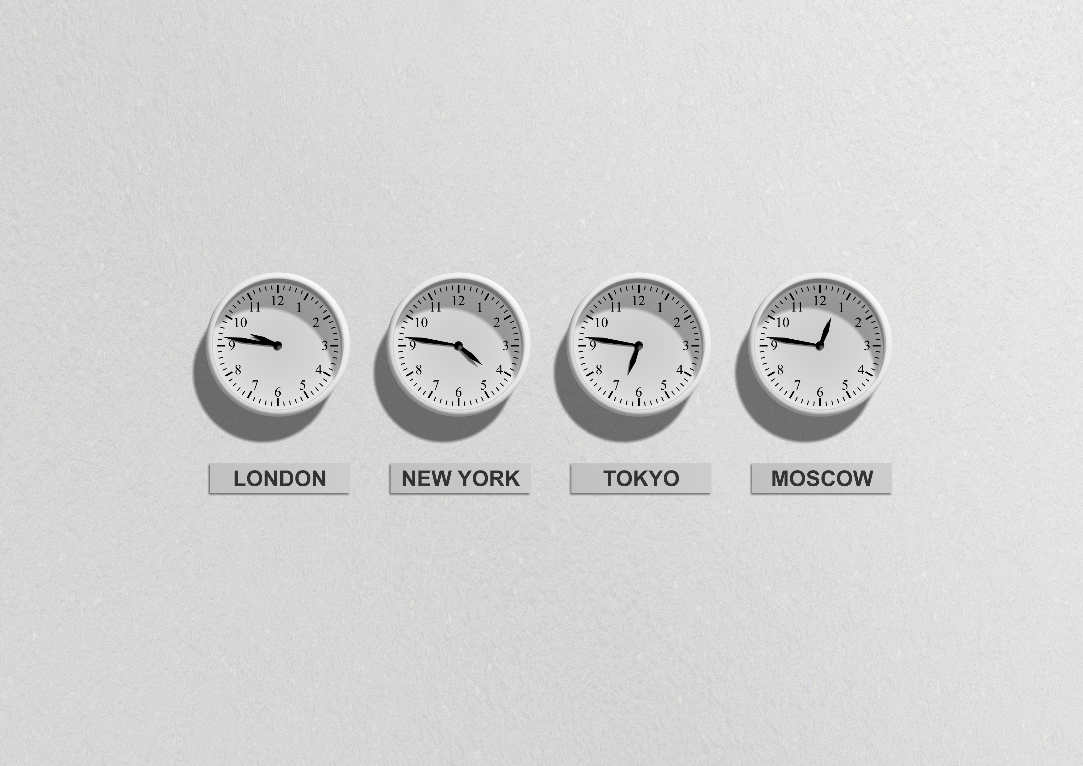 London New York Tokyo and Moscow Clocks, Black, Business, Clocks, Hours, HQ Photo