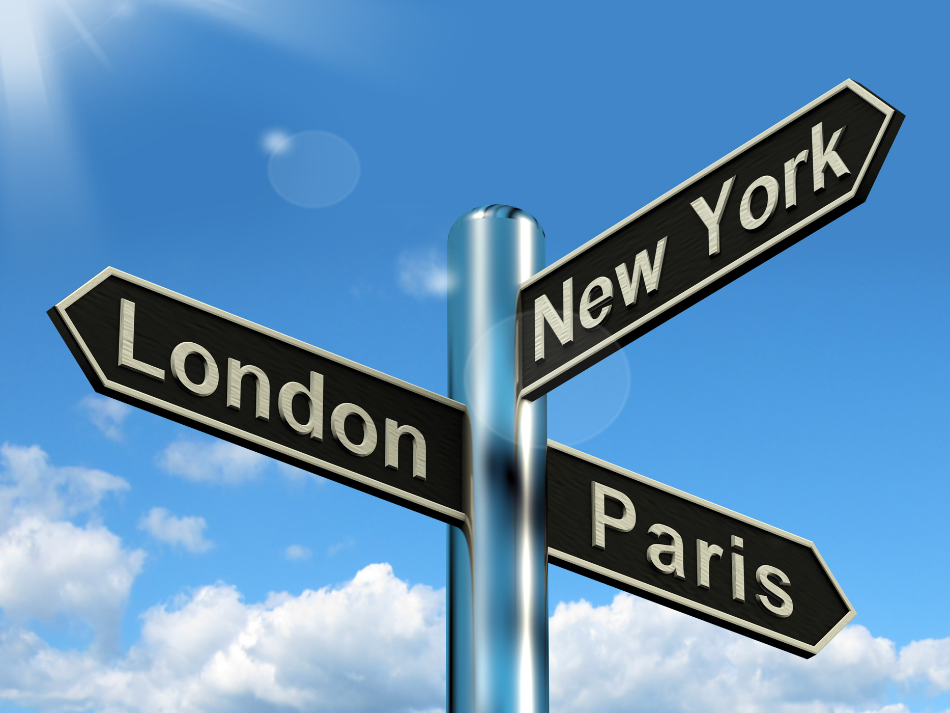 London Paris New York Signpost Showing Travel Tourism And Destinations, Signpost, Sign, Roadsign, Paris, HQ Photo