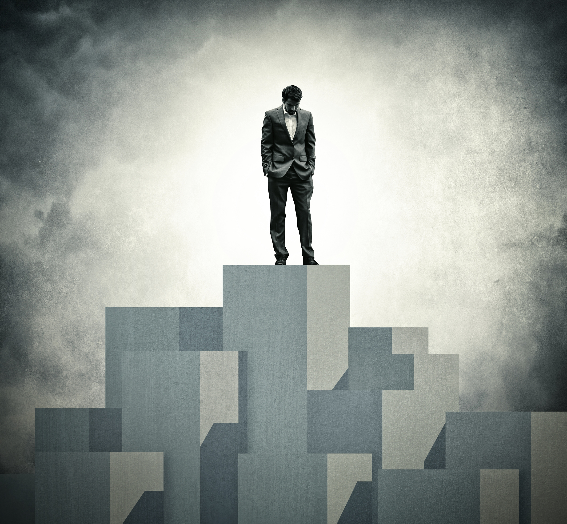 Lonely at the Top - Lone Businessman at the Top, Adult, Portrait, Sky, Search, HQ Photo